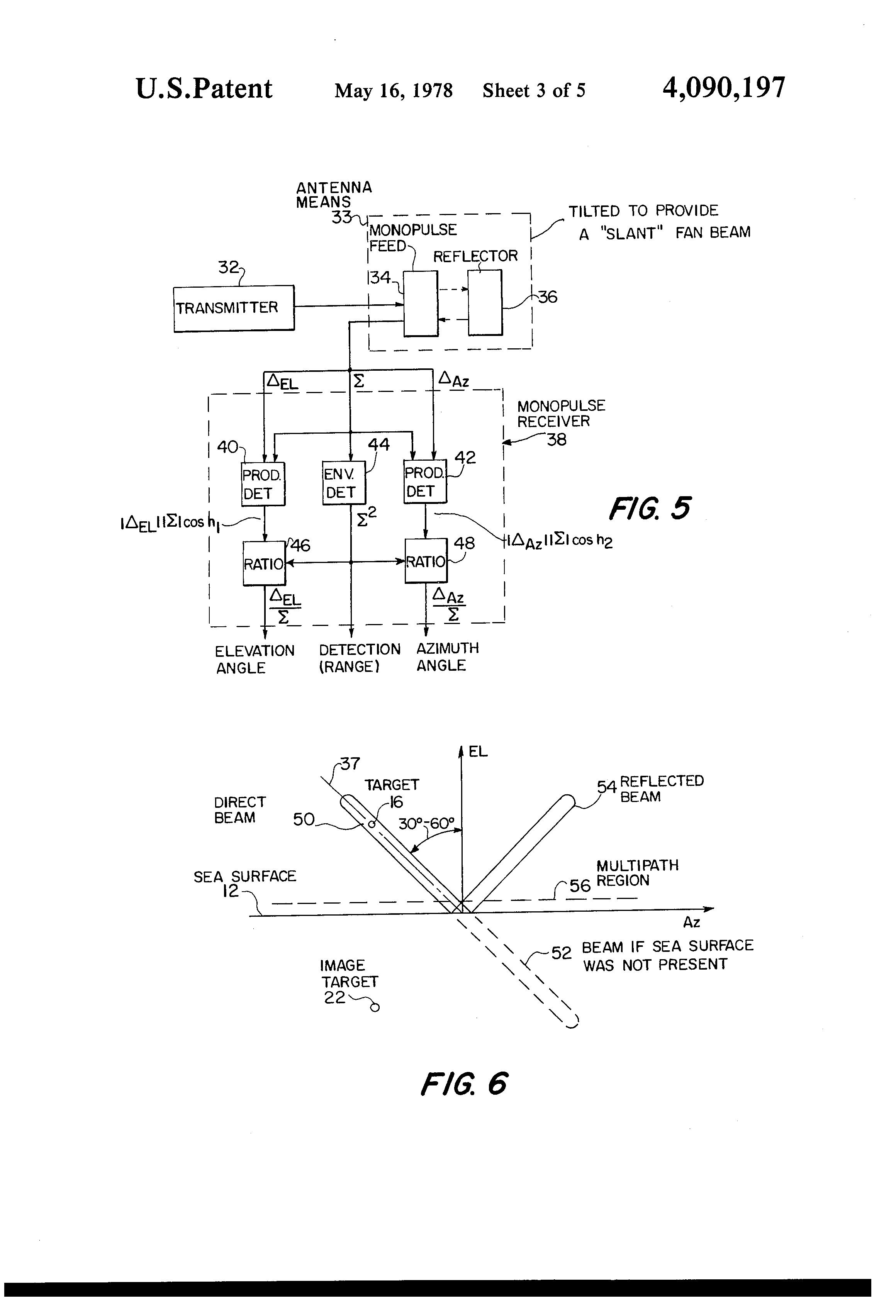 براءة الاختراع US4090197 - Monopulse, fan-beam, search-radar system