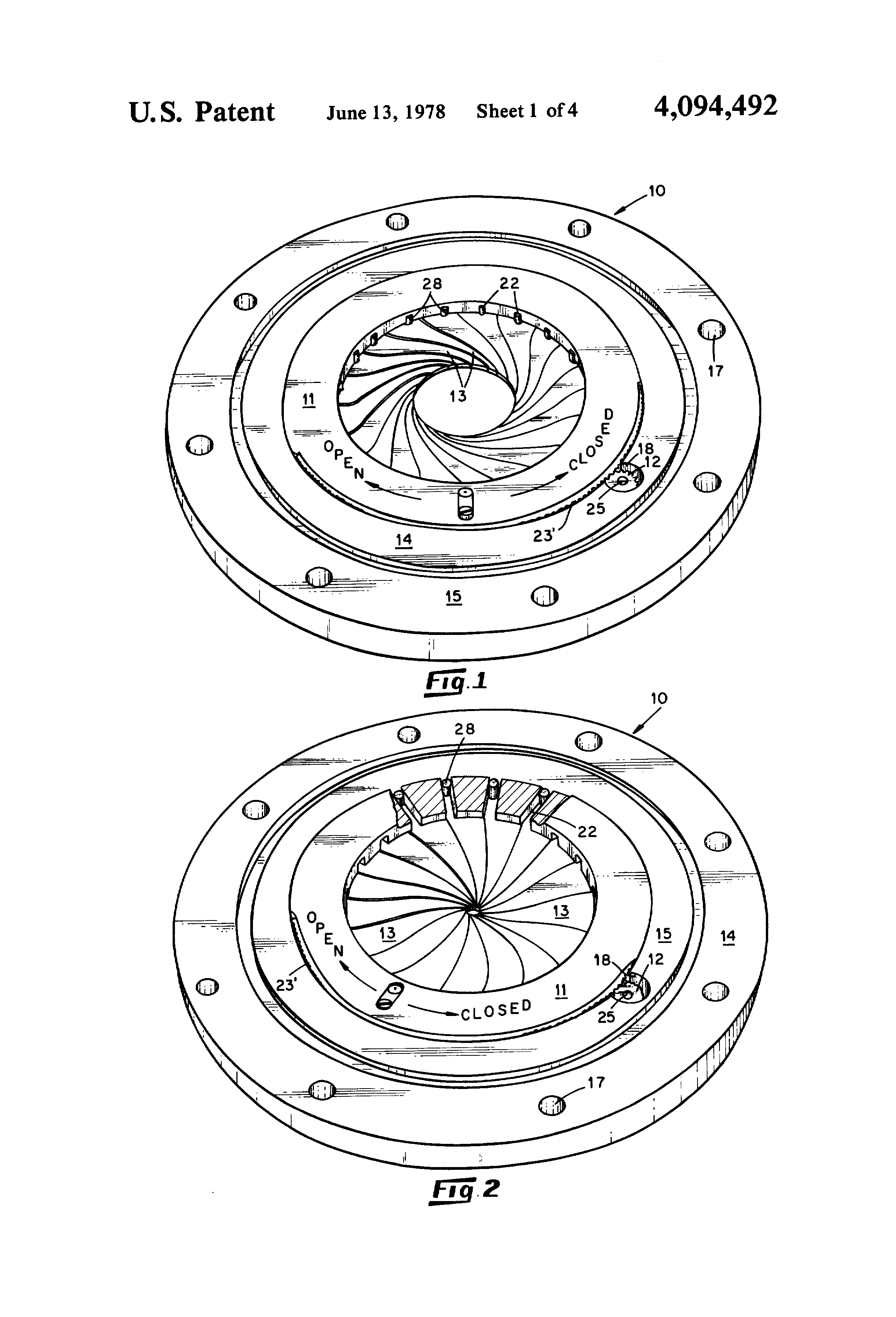 Patent Us4094492 Variable Orifice Using An Iris Shutter