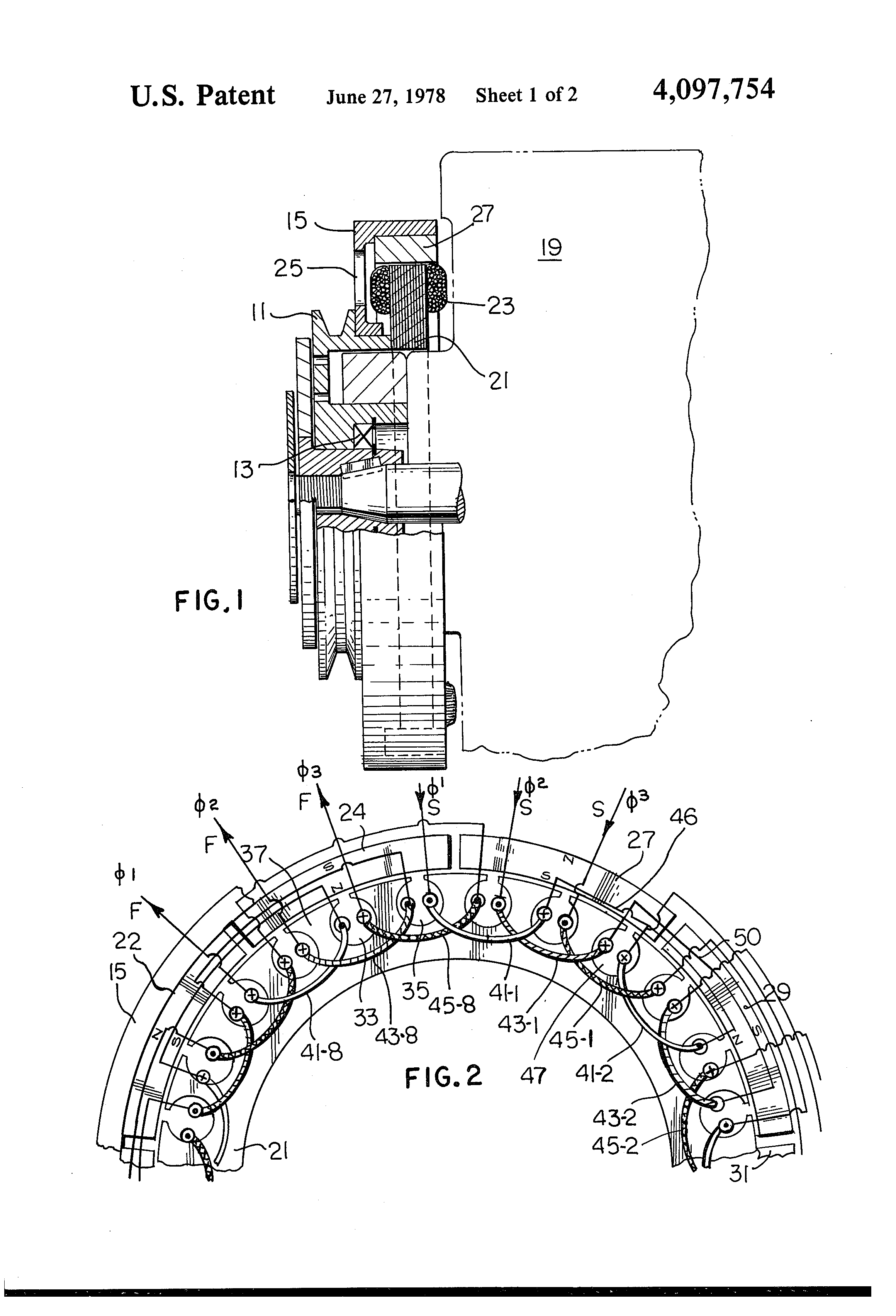 patent us4097754 - short pitch alternator
