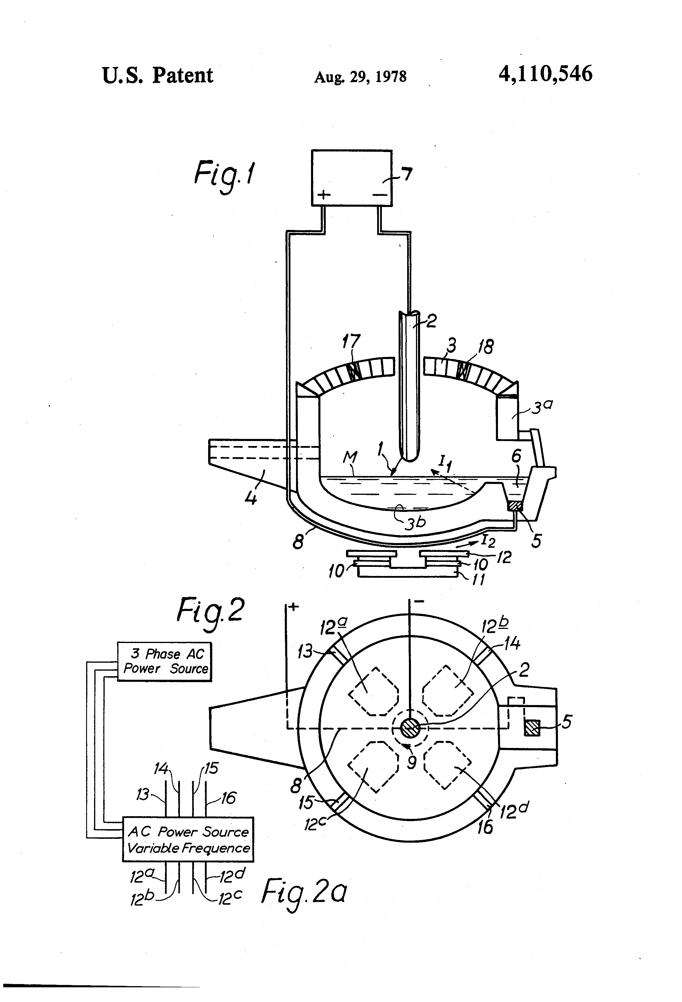 Patent US4110546 - DC arc furnace having a rotating arc