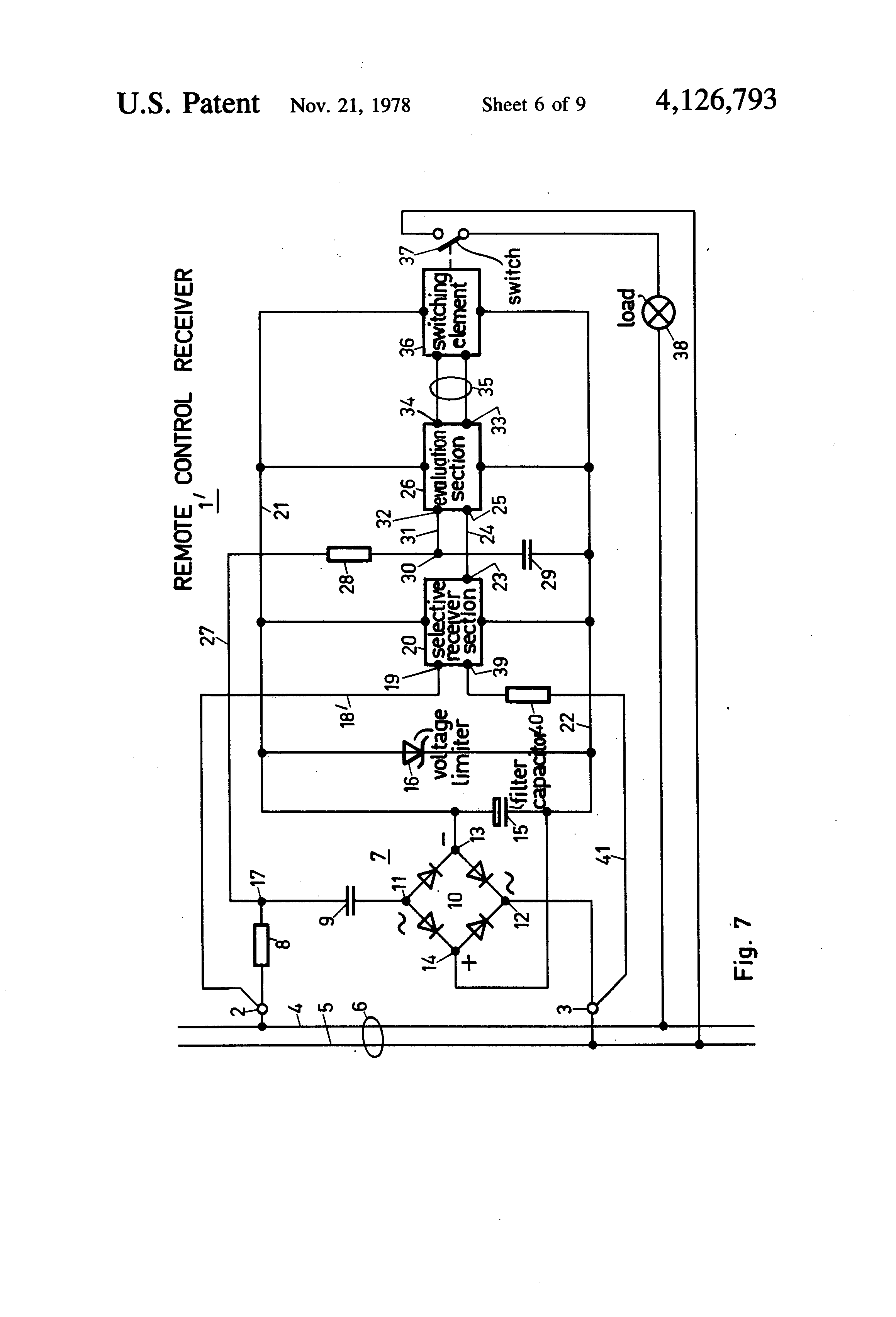 patent us4126793 - circuit arrangement for a remote control receiver