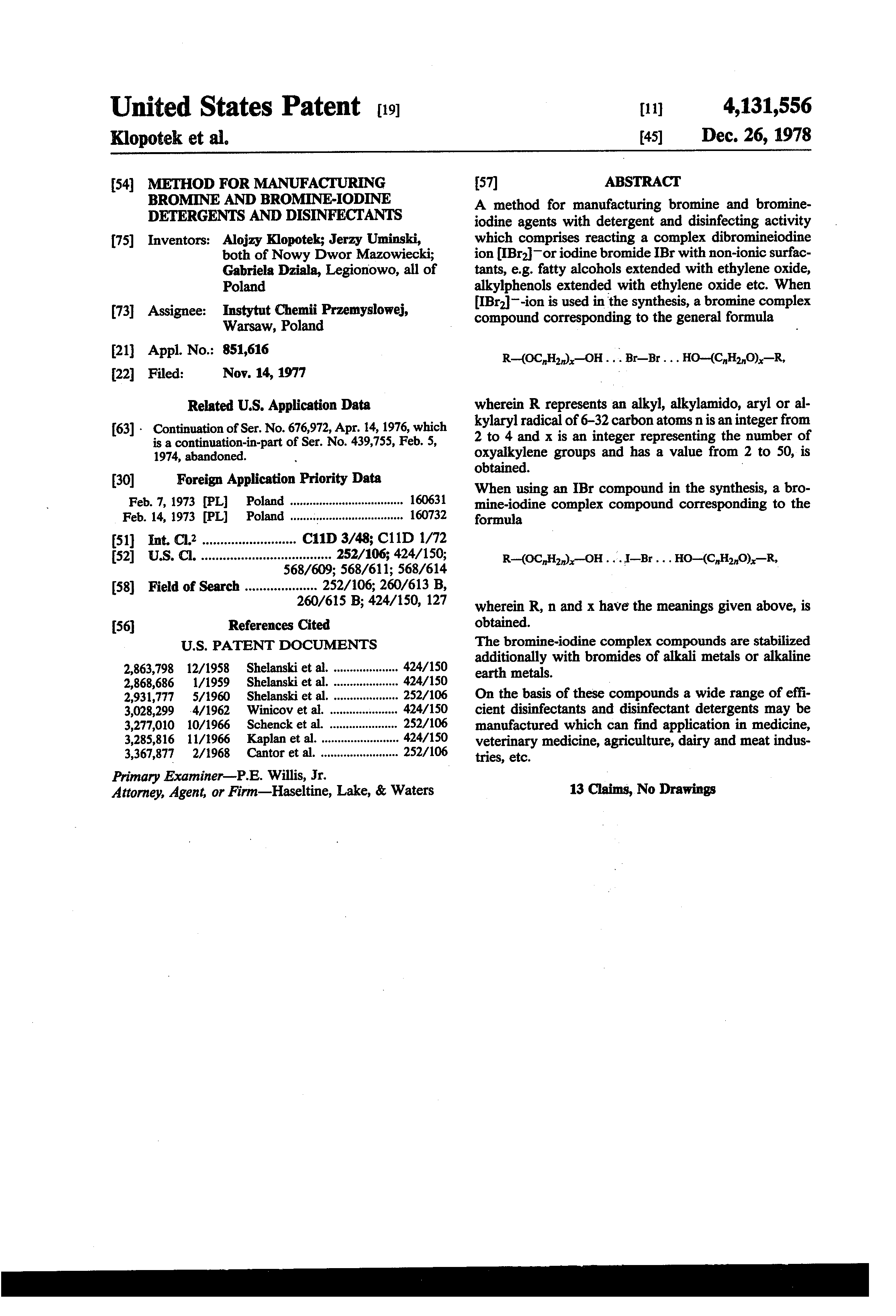 Patent US4131556 - Method for manufacturing bromine and