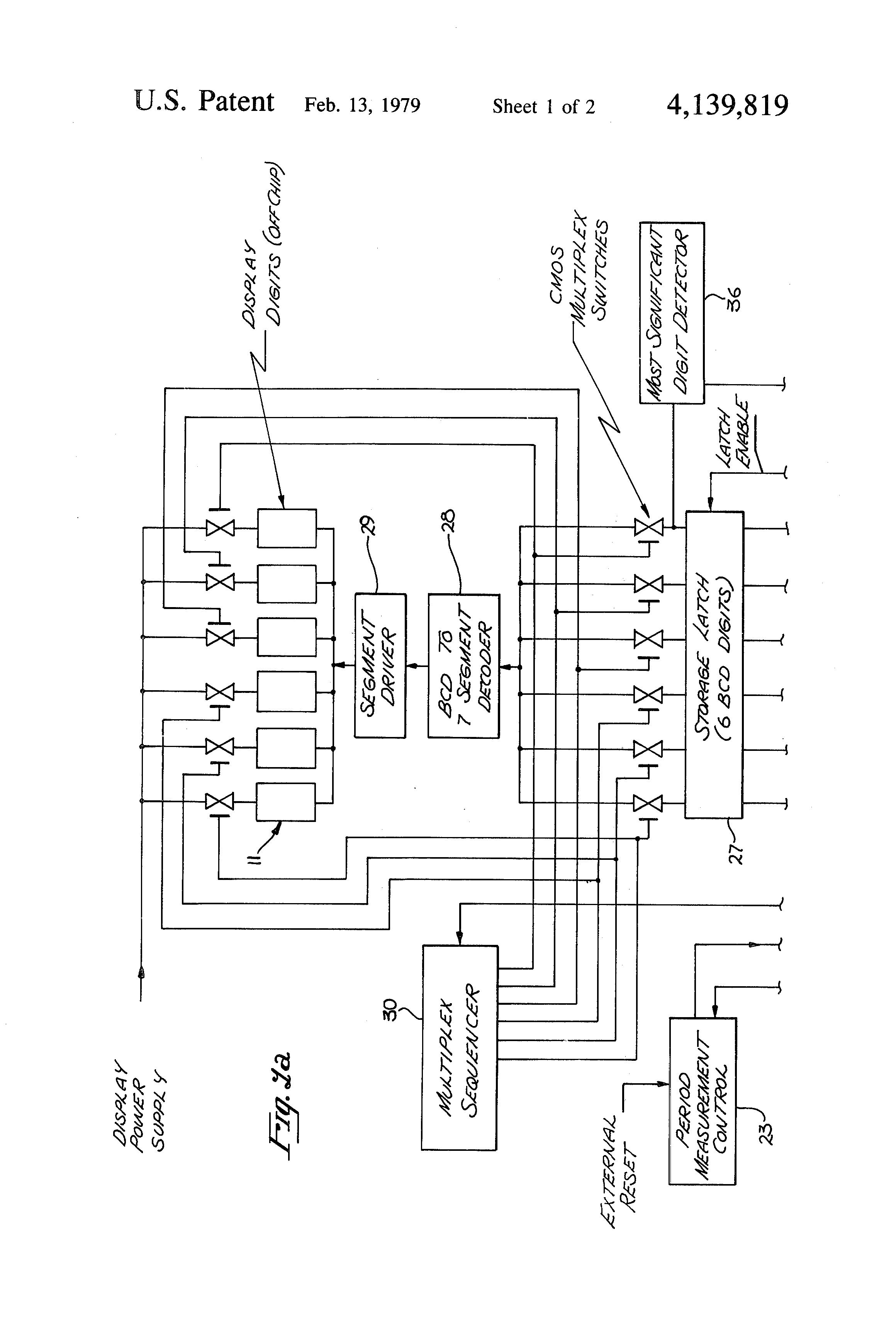 Patent Us4139819 Multifunction Frequency Counter Google Patents Circuit With 7 Segment Display Drawing