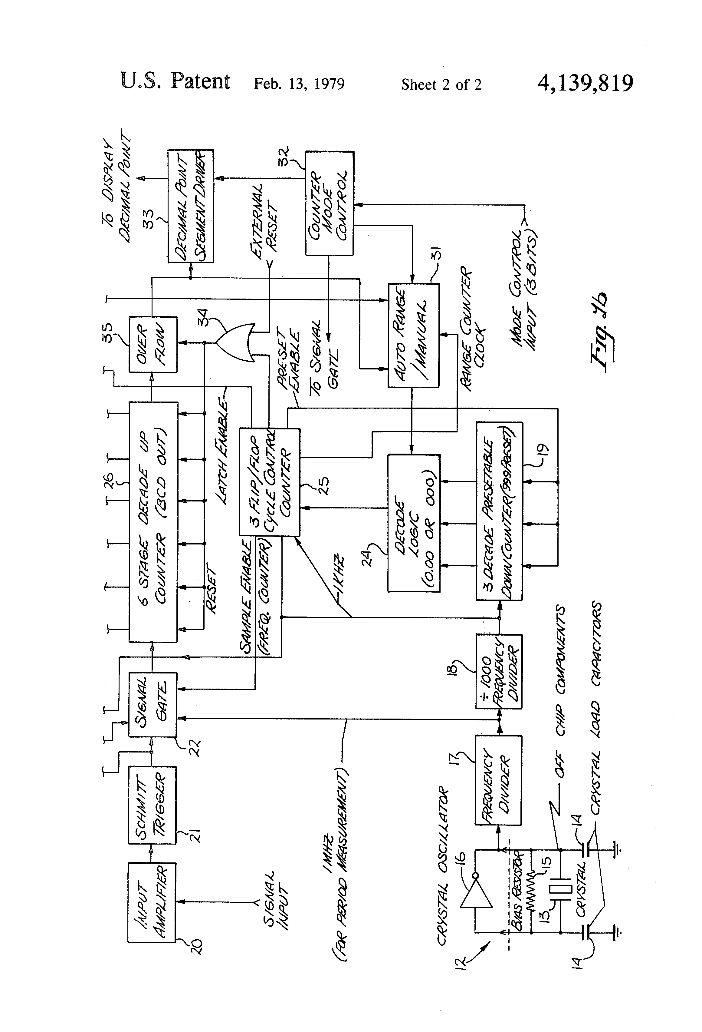 Patent Us4139819 Multifunction Frequency Counter Google Patents Decade Circuit Diagram Drawing