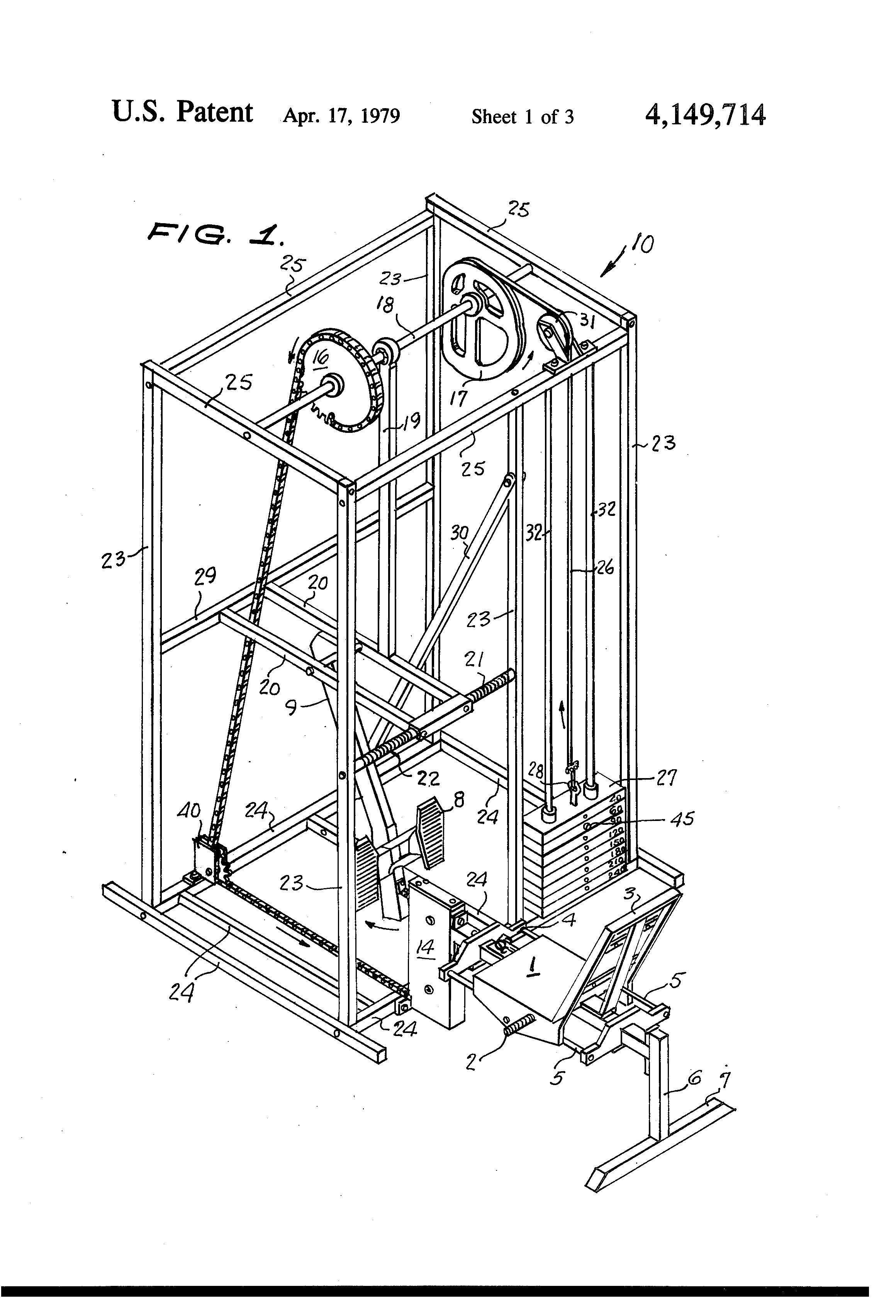 Patent US4149714 - Seated weight lifting leg press ...