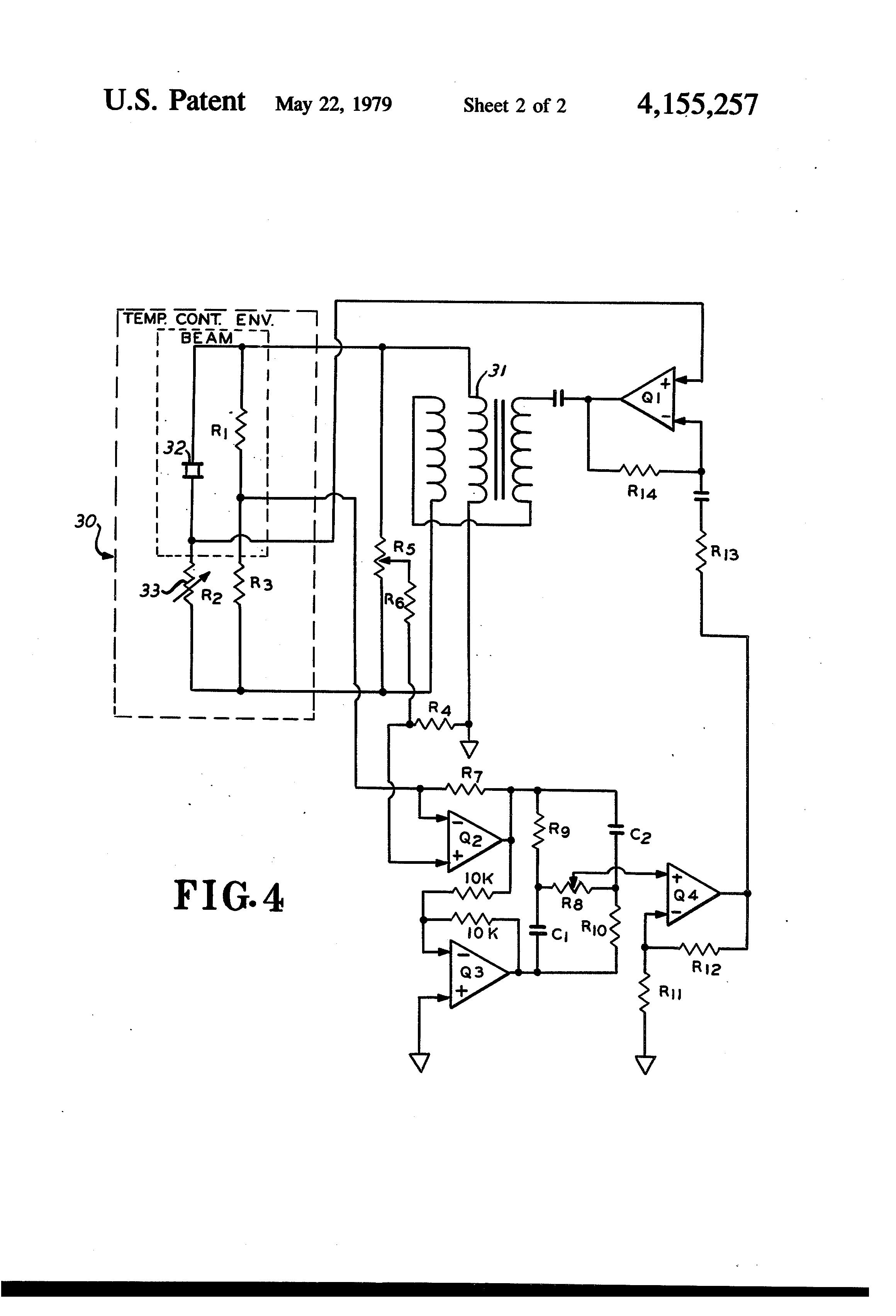 Patente Us4155257 Temperature Compensated Vibrating Beam Accelerometer Sensor Schematic Diagram Patent Drawing