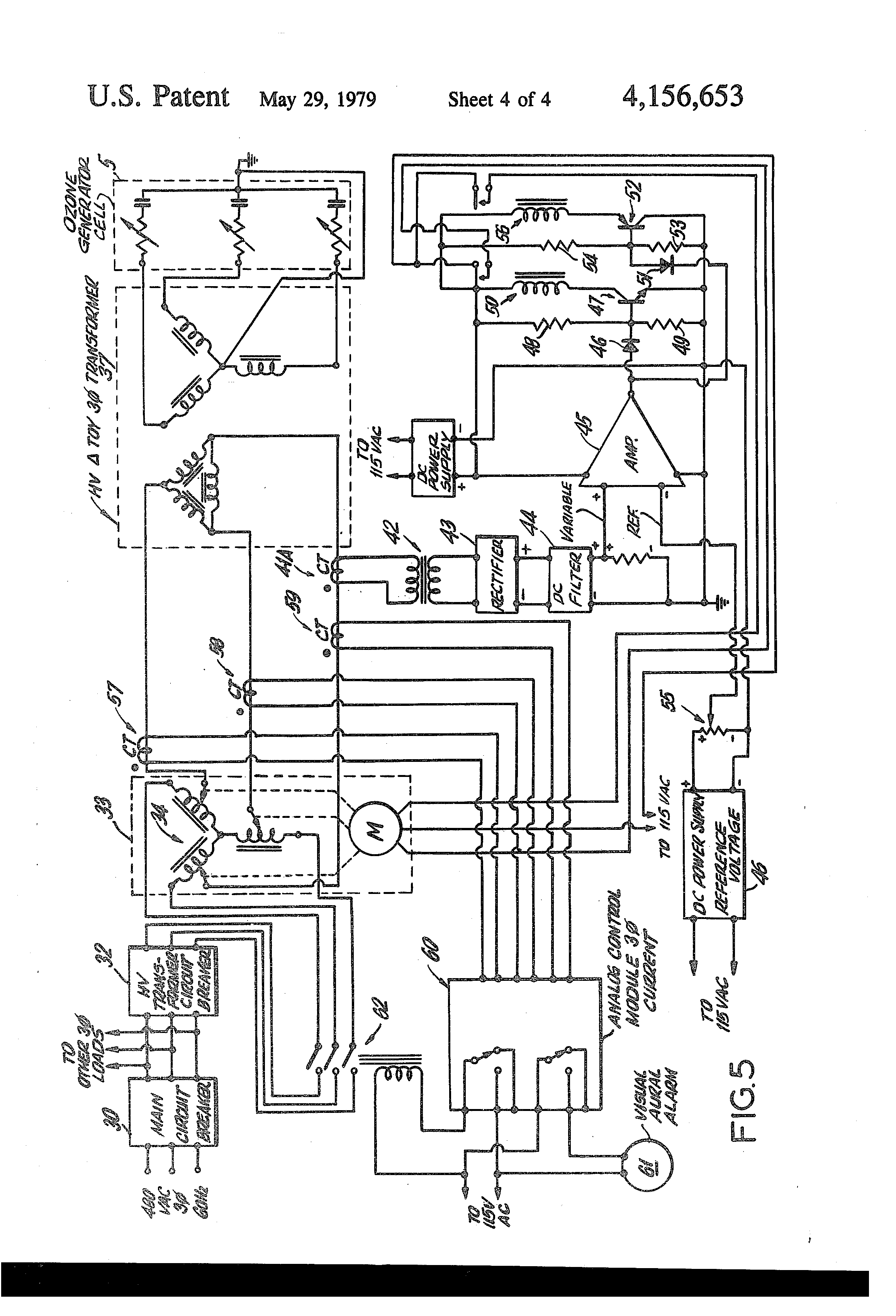 patent us4156653 - three phase electrical power ozone generating system