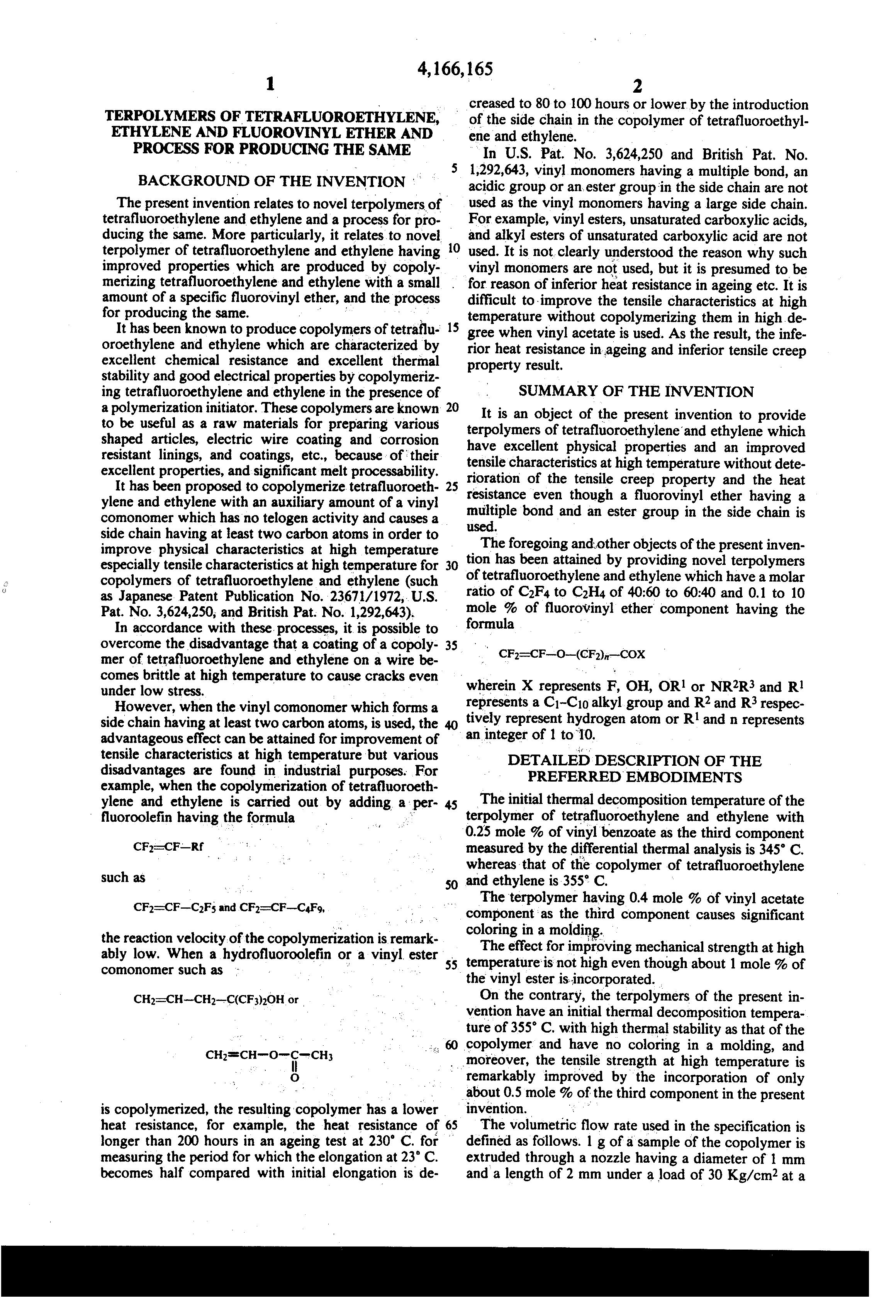 Patent Us4166165 Terpolymers Of Tetrafluoroethylene