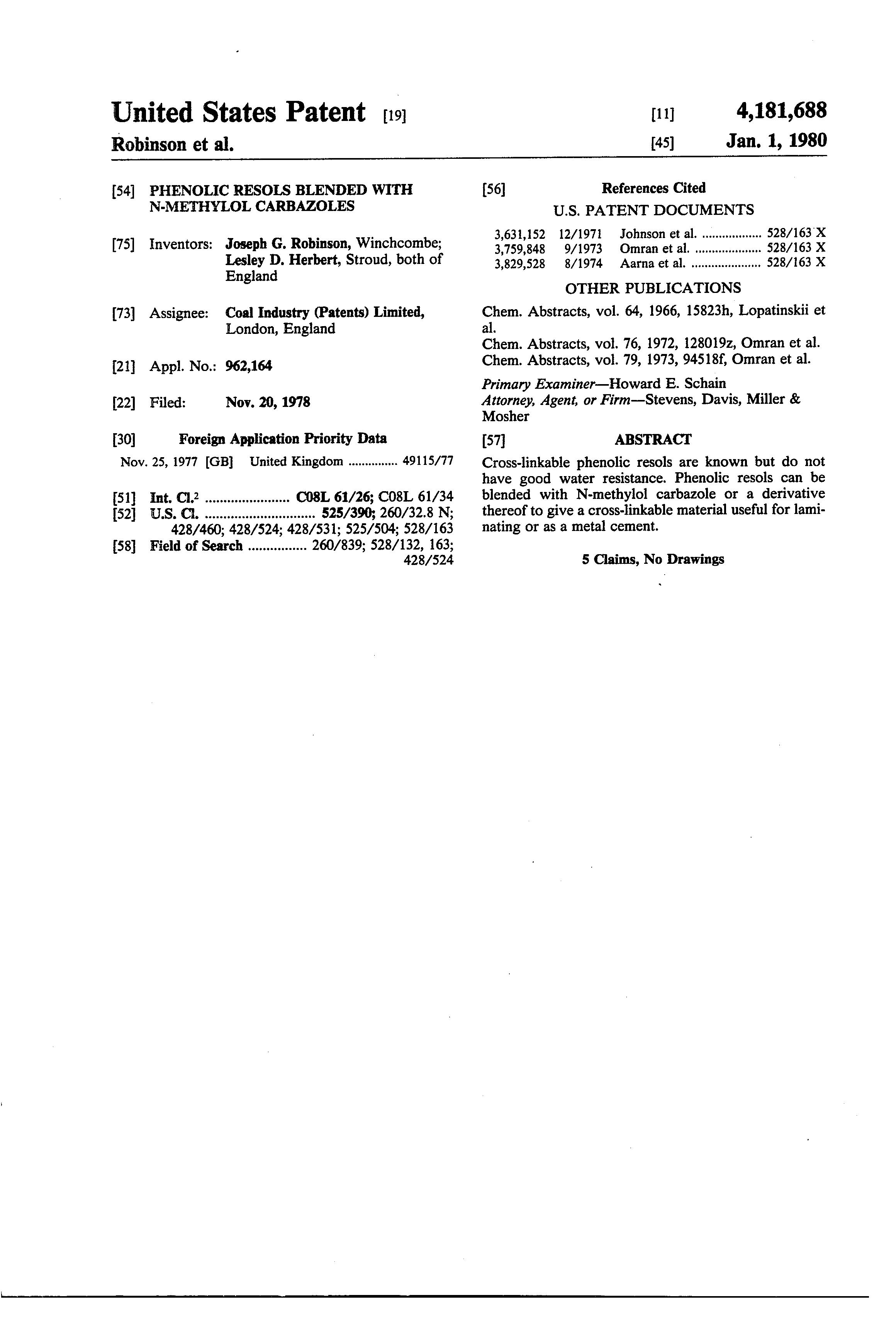 براءة الاختراع us phenolic resols blended n methylol  patent drawing