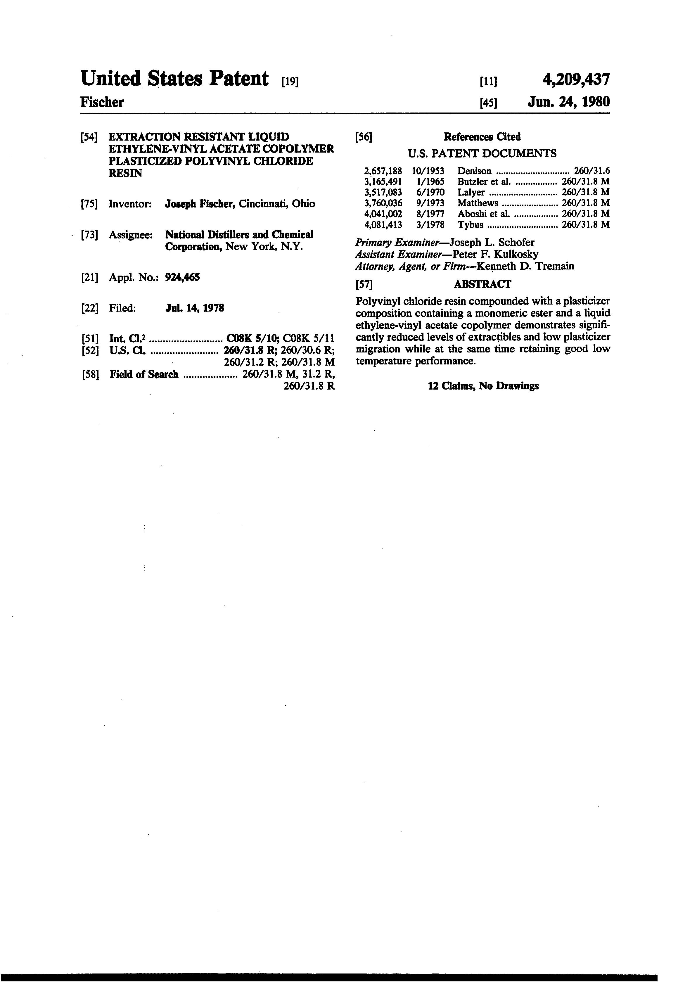 Patent Us4209437 Extraction Resistant Liquid Ethylene