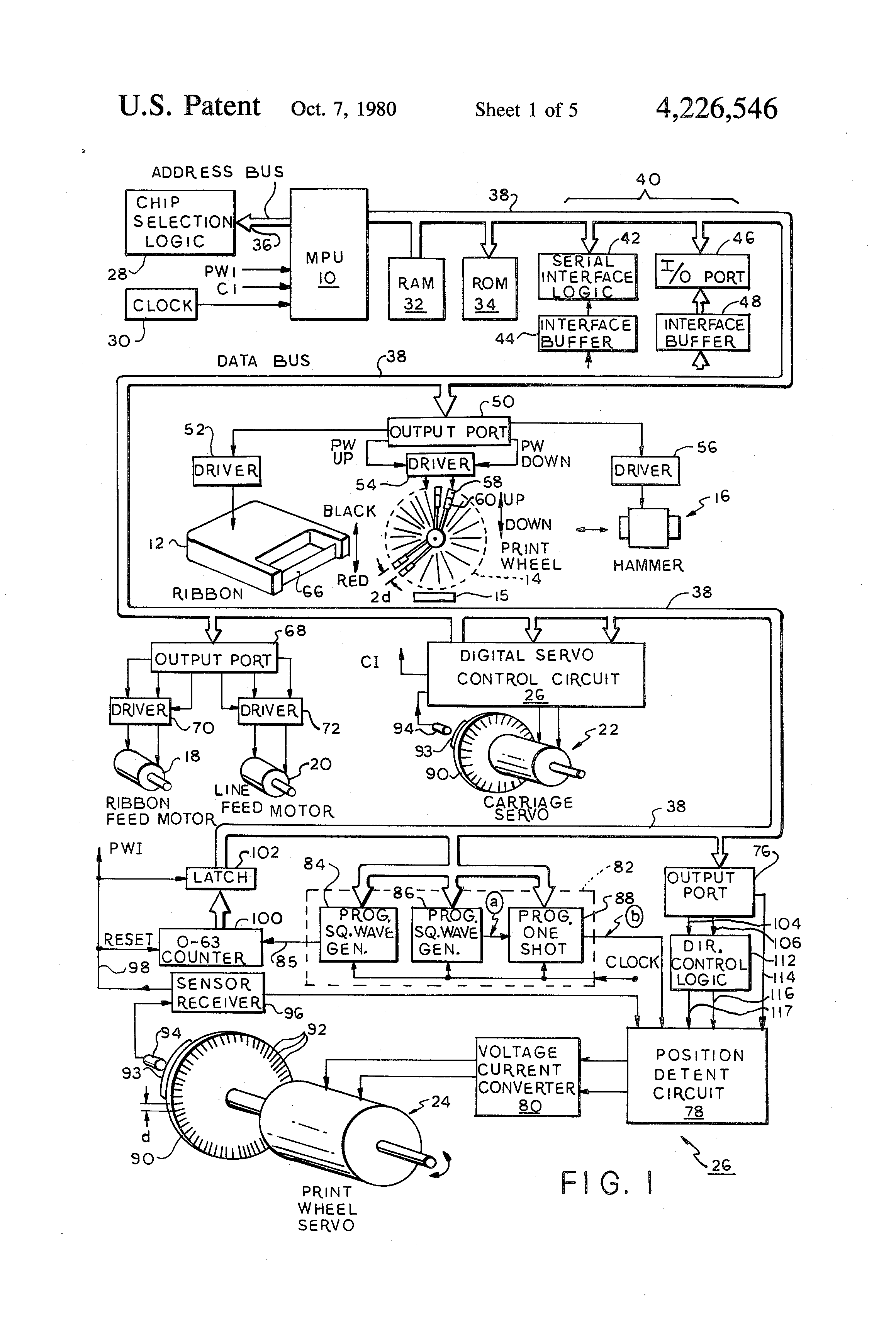 Patent Us4226546 Printer Control System Google Patenten Meter Counter Gt Delay Circuits Circuit Of A Multi Level Drawing