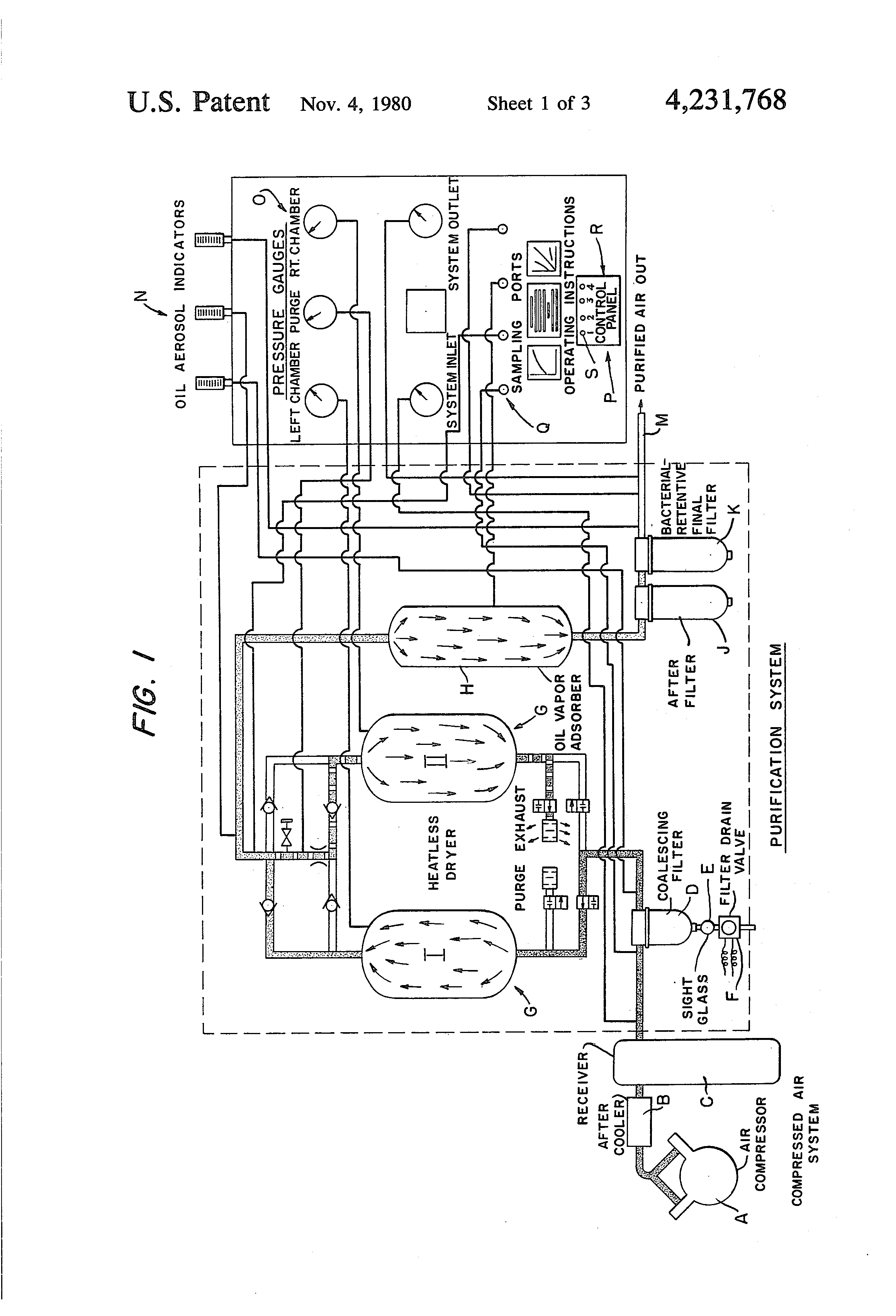 patent us4231768 - air purification system and process