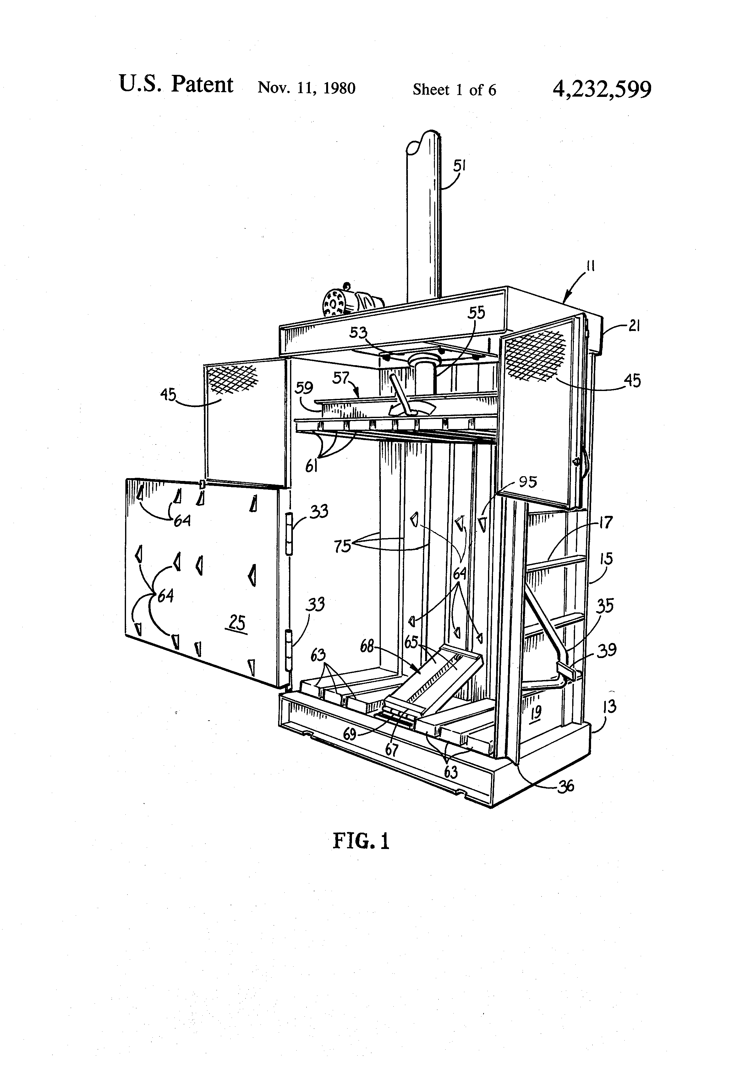 patent us waste paper compacter front access patent drawing