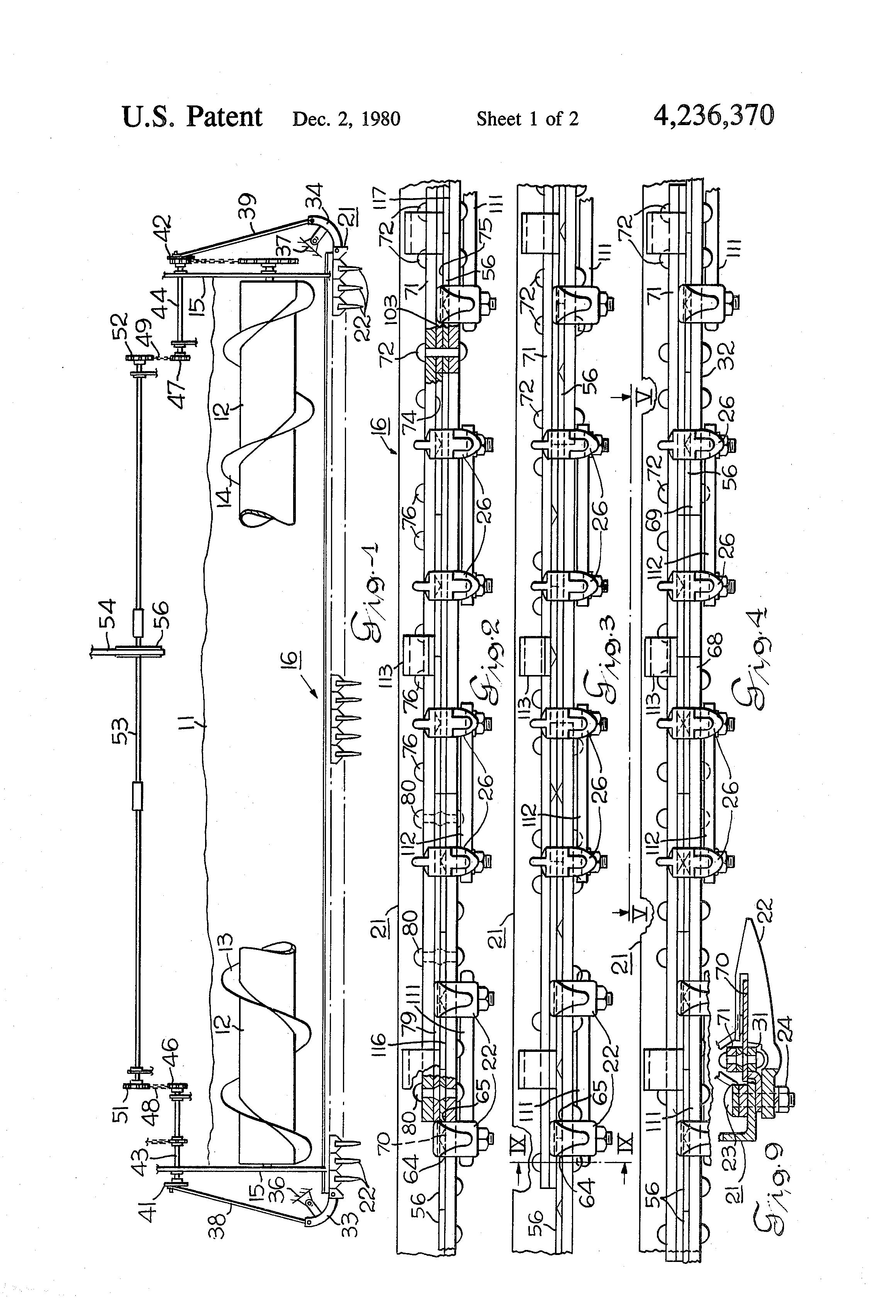 براءة الاختراع US4236370 - Mower with two sickle bars - براءات