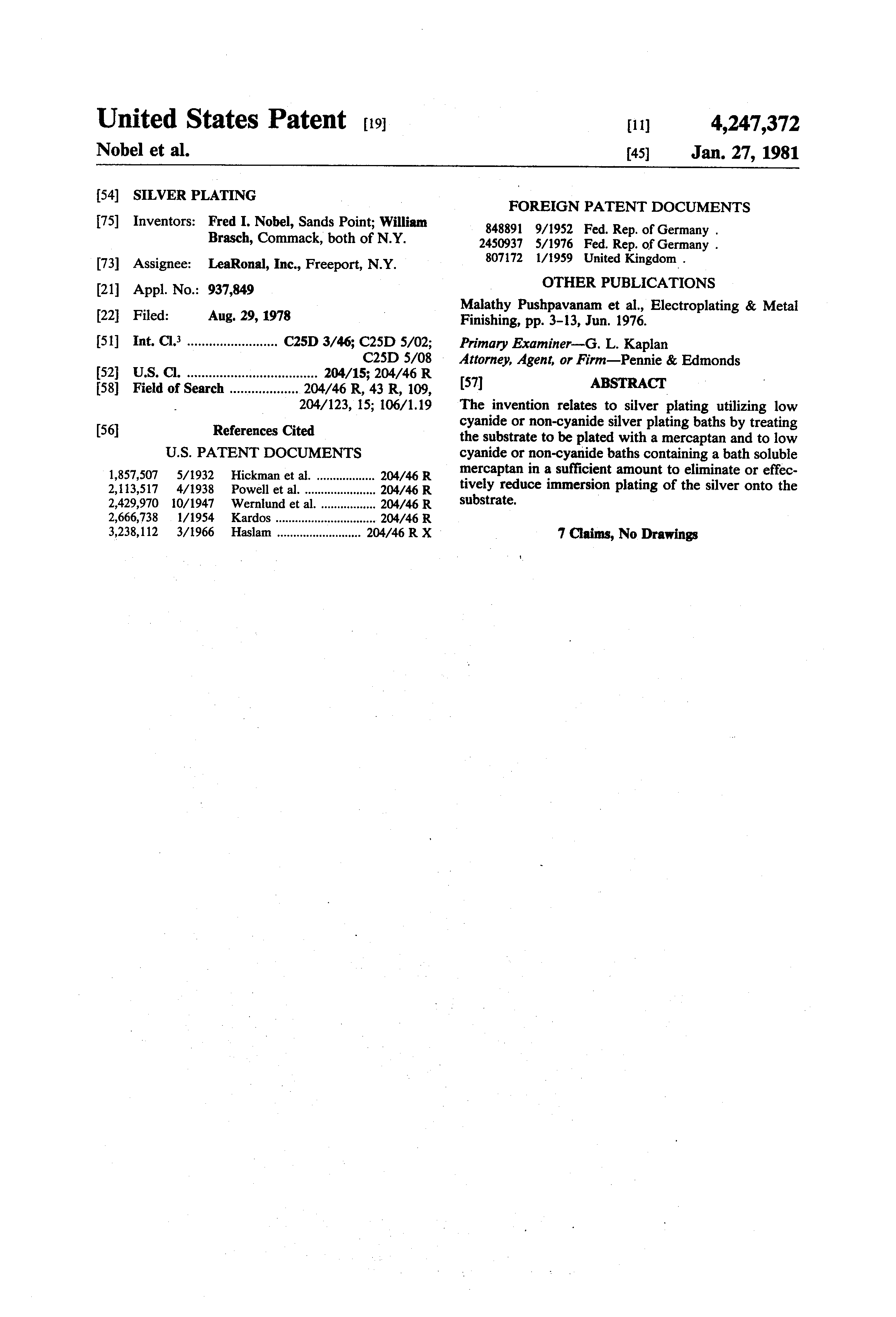 Patent US4247372 - Silver plating - Google Patents