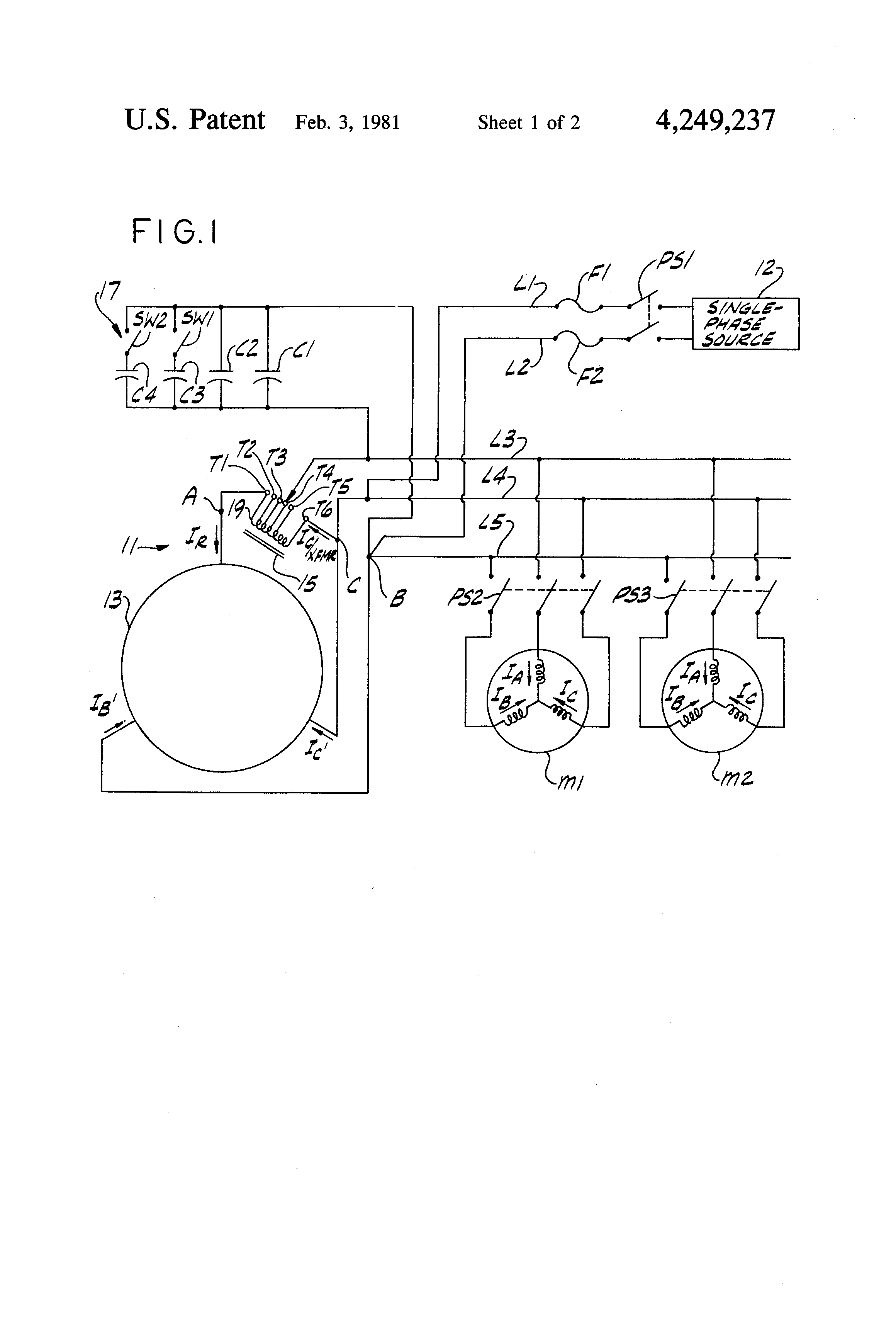 3 phase wiring diagram patent us4249237 - rotary phase converter - google patents #13
