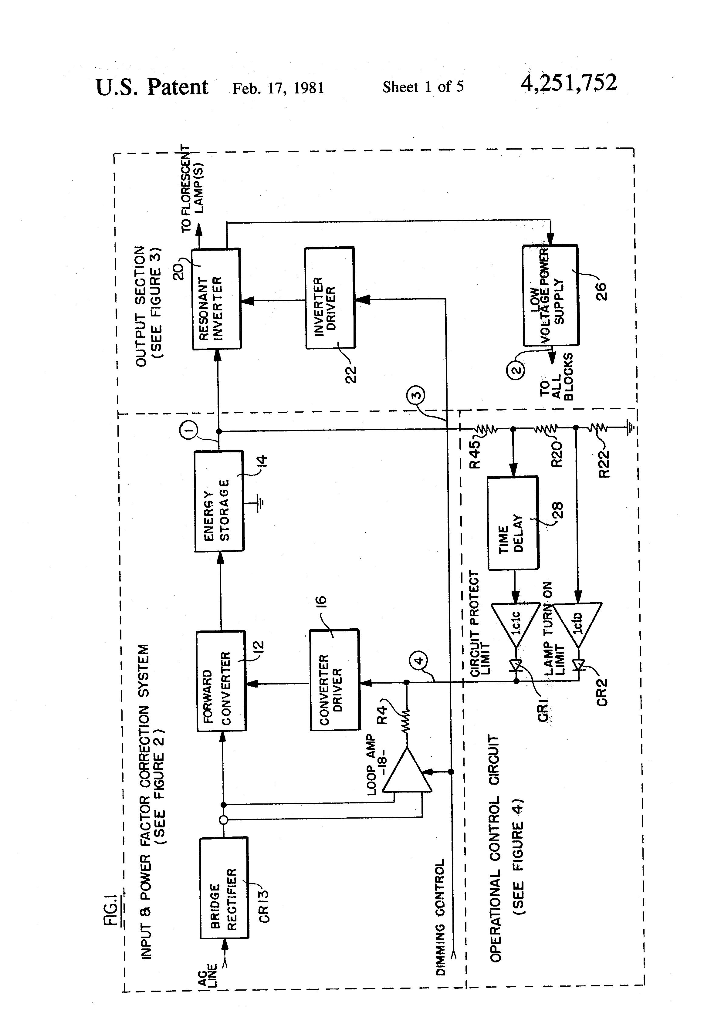 Patente Us4251752 Solid State Electronic Ballast System For Fluorescentlightelectronicballastcircuit Patent Drawing