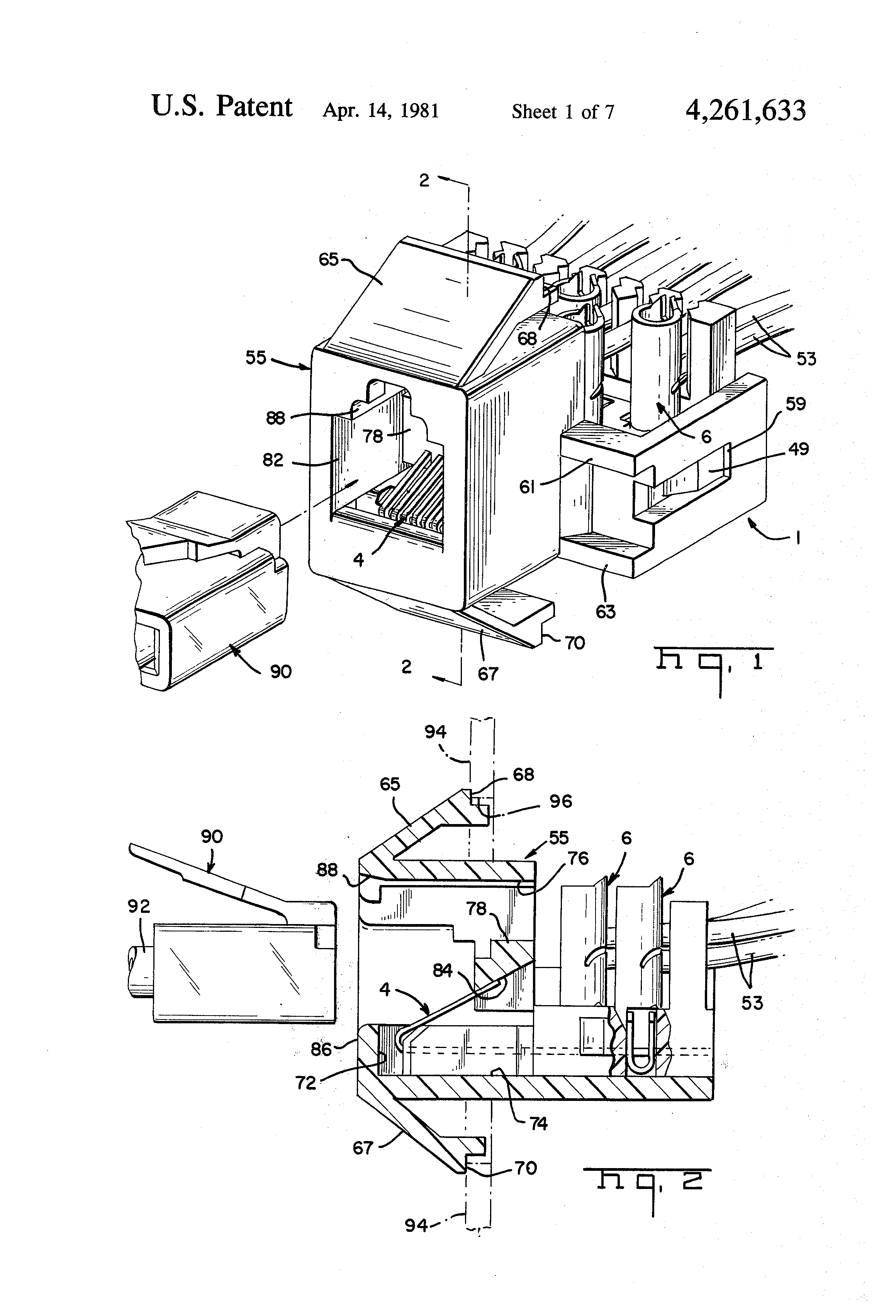 Patent Us4261633 Wiring Module For Telephone Jack