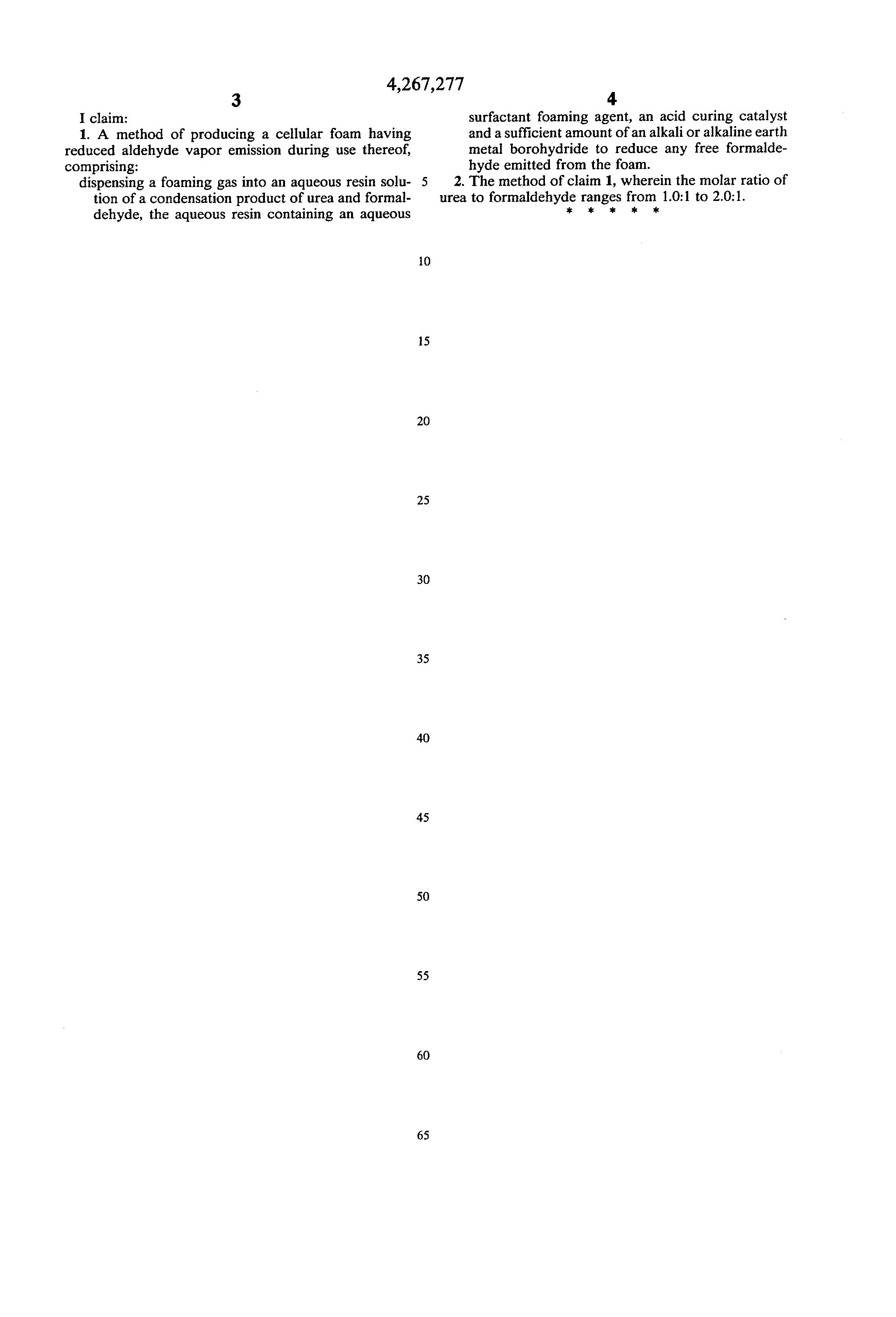 Brevet US4267277 - Method of producing urea-formaldehyde resin