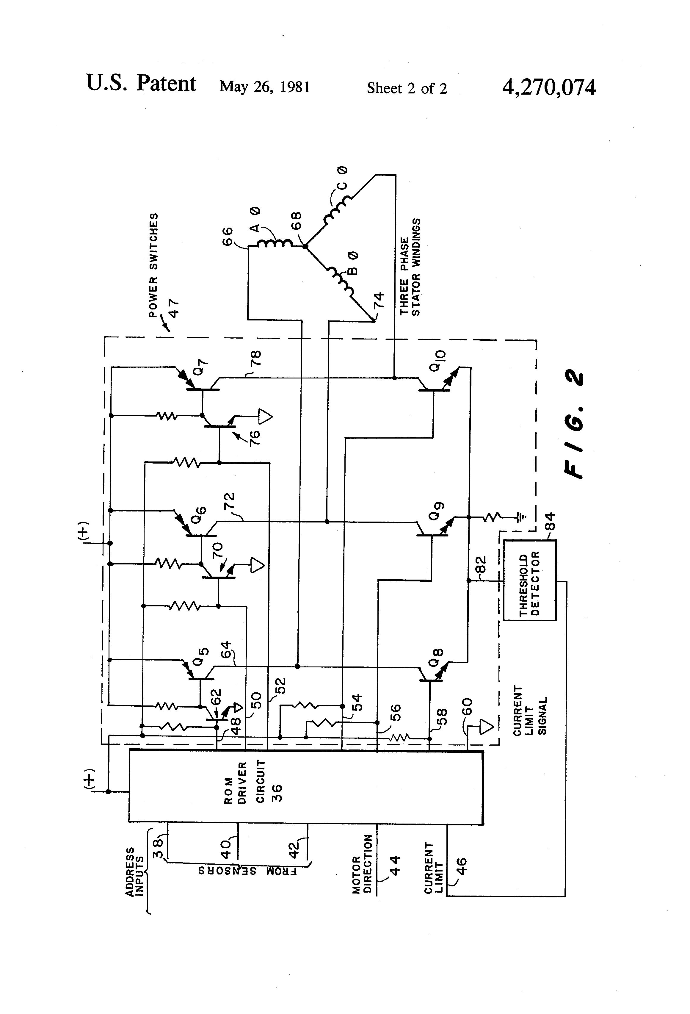 Patent Us4270074 Brushless Dc Motor Control Utilizing A Rom Permanent Magnet Circuit Diagram Drawing