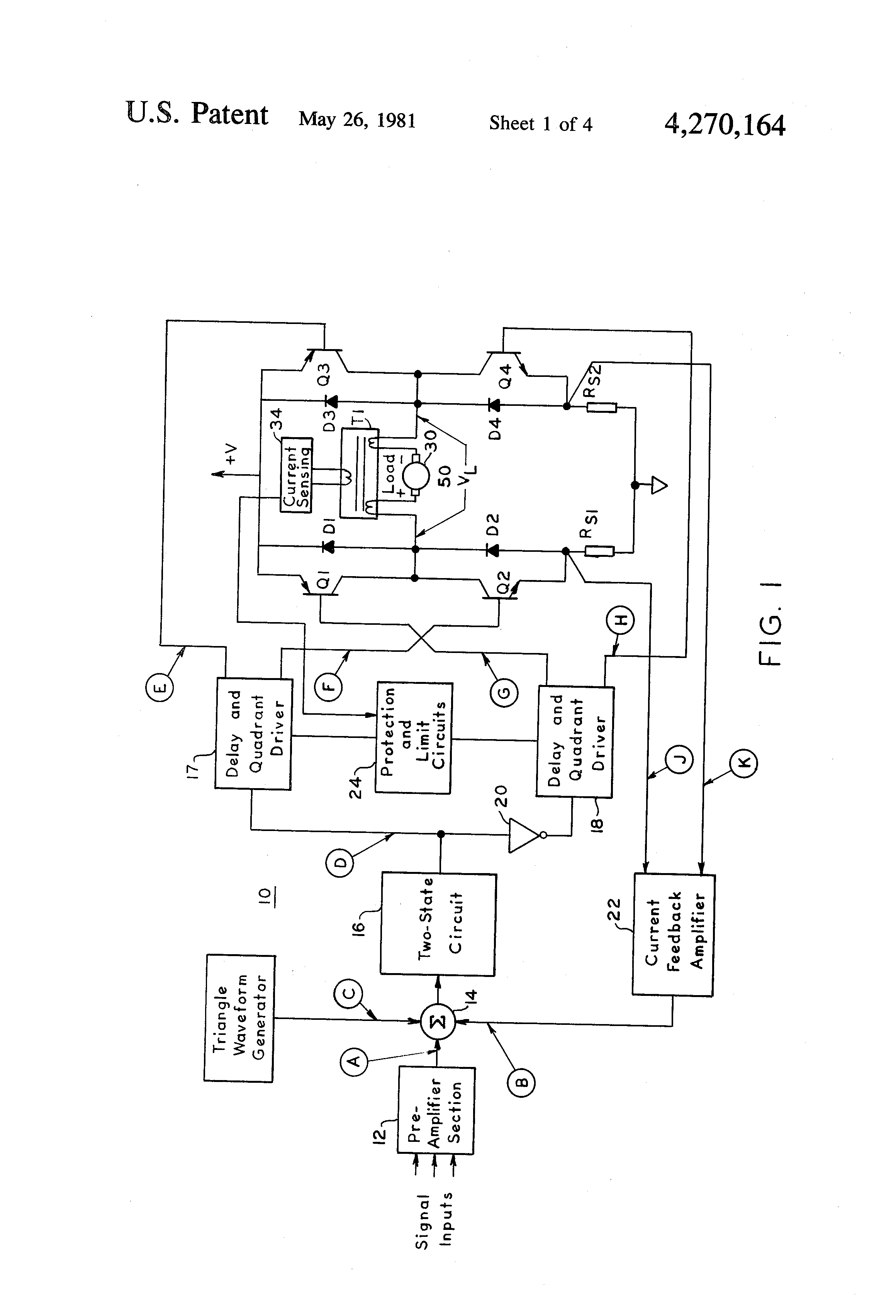 Patent Us4270164 Short Circuit Protection For Switching Type Power Fig 4 Calculating Transformer Secondary Current Currents Images4 Drawing