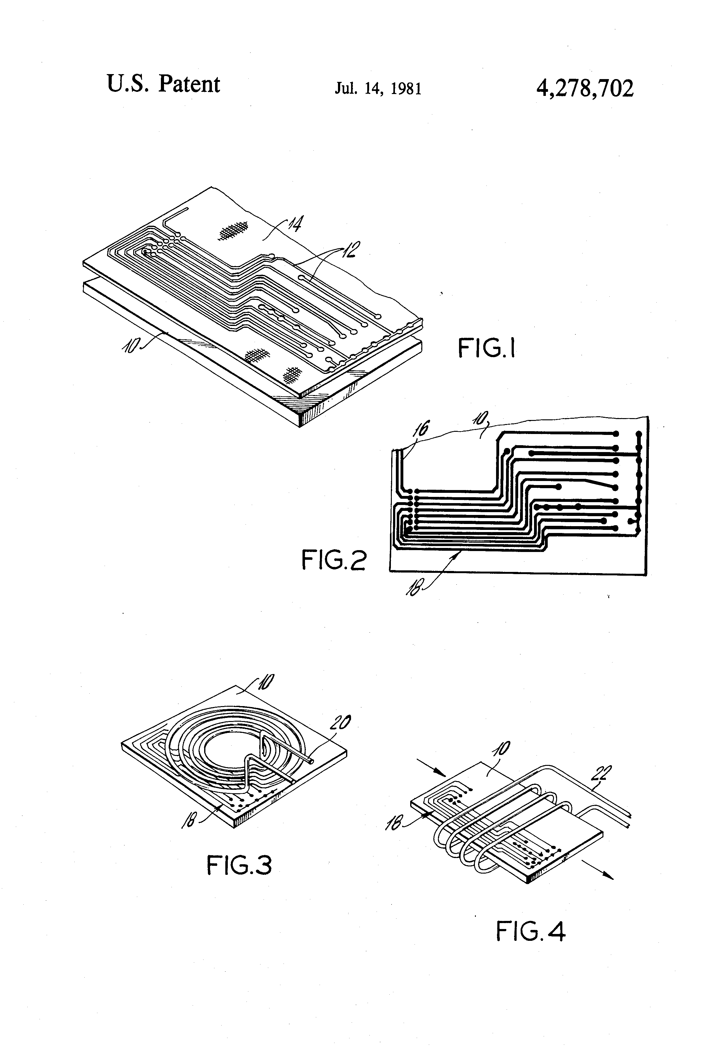 Patent Us4278702 Method Of Making Printed Circuit Board By Induction Heater Circuits Drawing