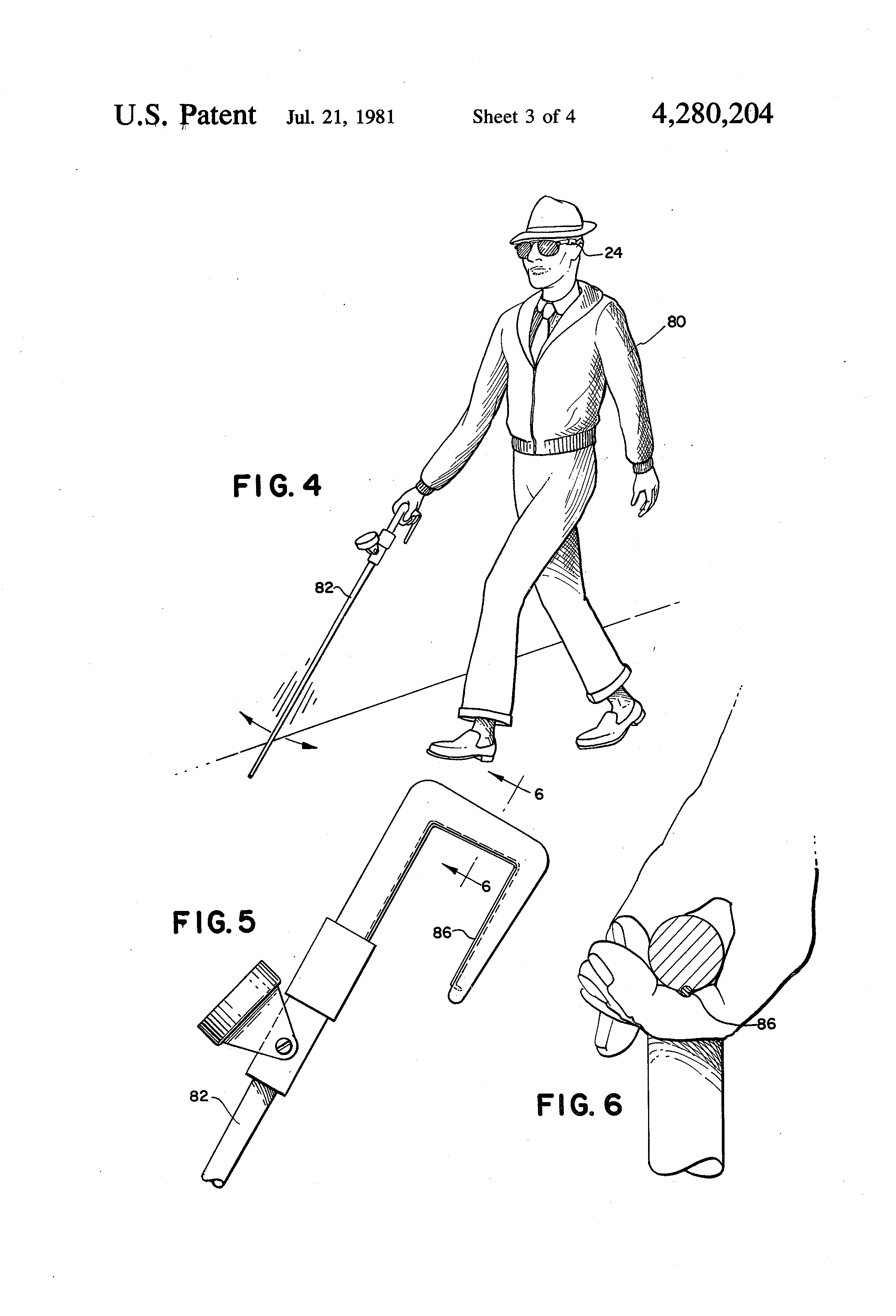 Patent Us4280204 Mobility Cane For The Blind