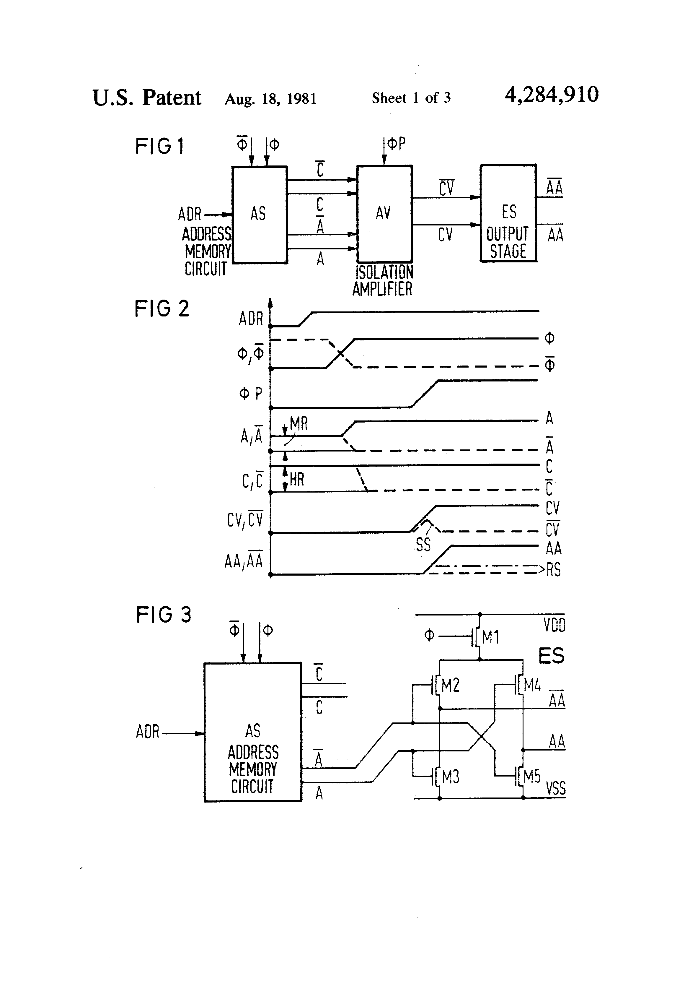 Patent Us4284910 Address Buffer For A Mos Memory Module Google Circuit Schematic Diagram Drawing