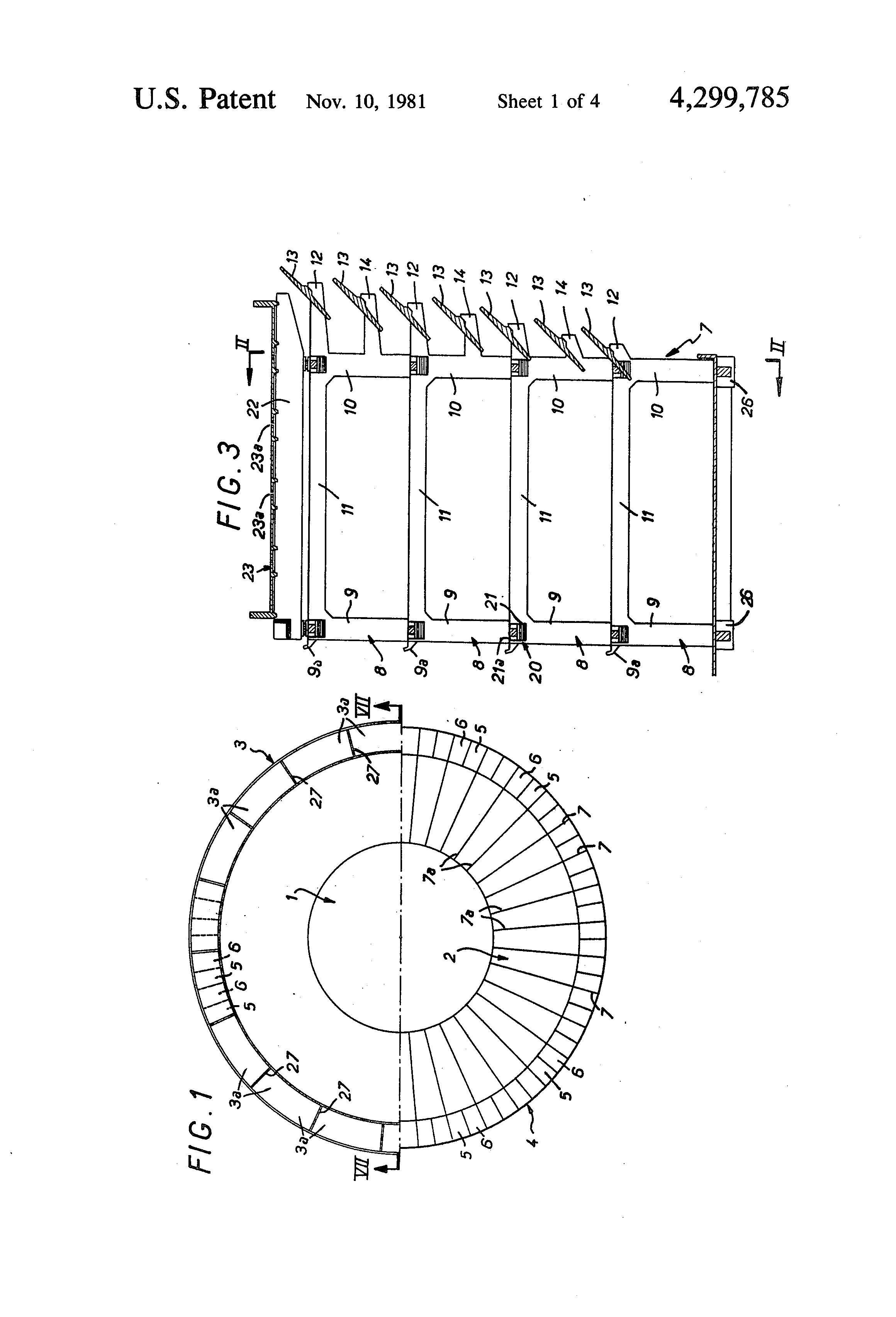 Patent US4299785 - Induced draft cooling tower with improved