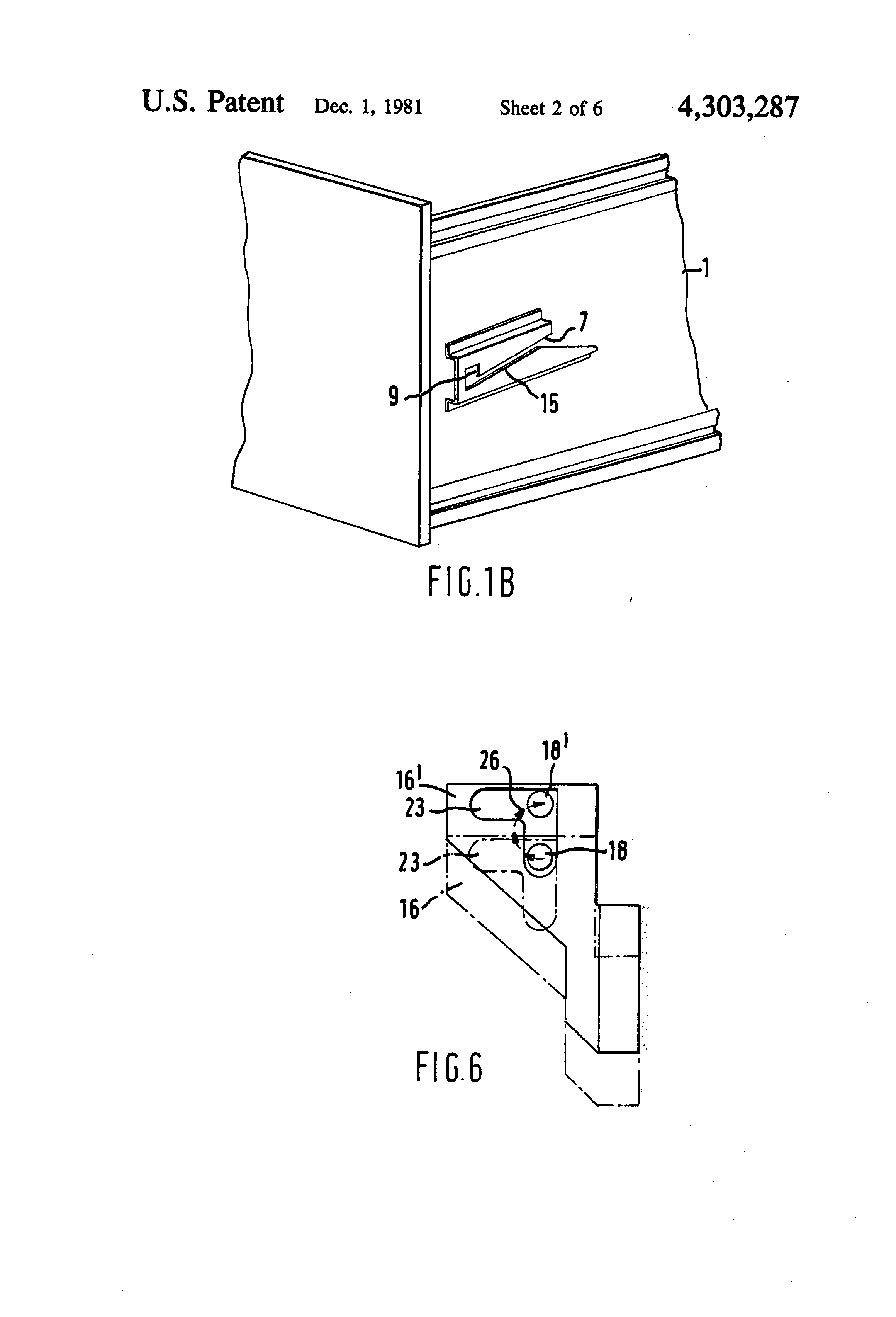 patent us4303287 locking mechanism for a storage cabinet. Black Bedroom Furniture Sets. Home Design Ideas