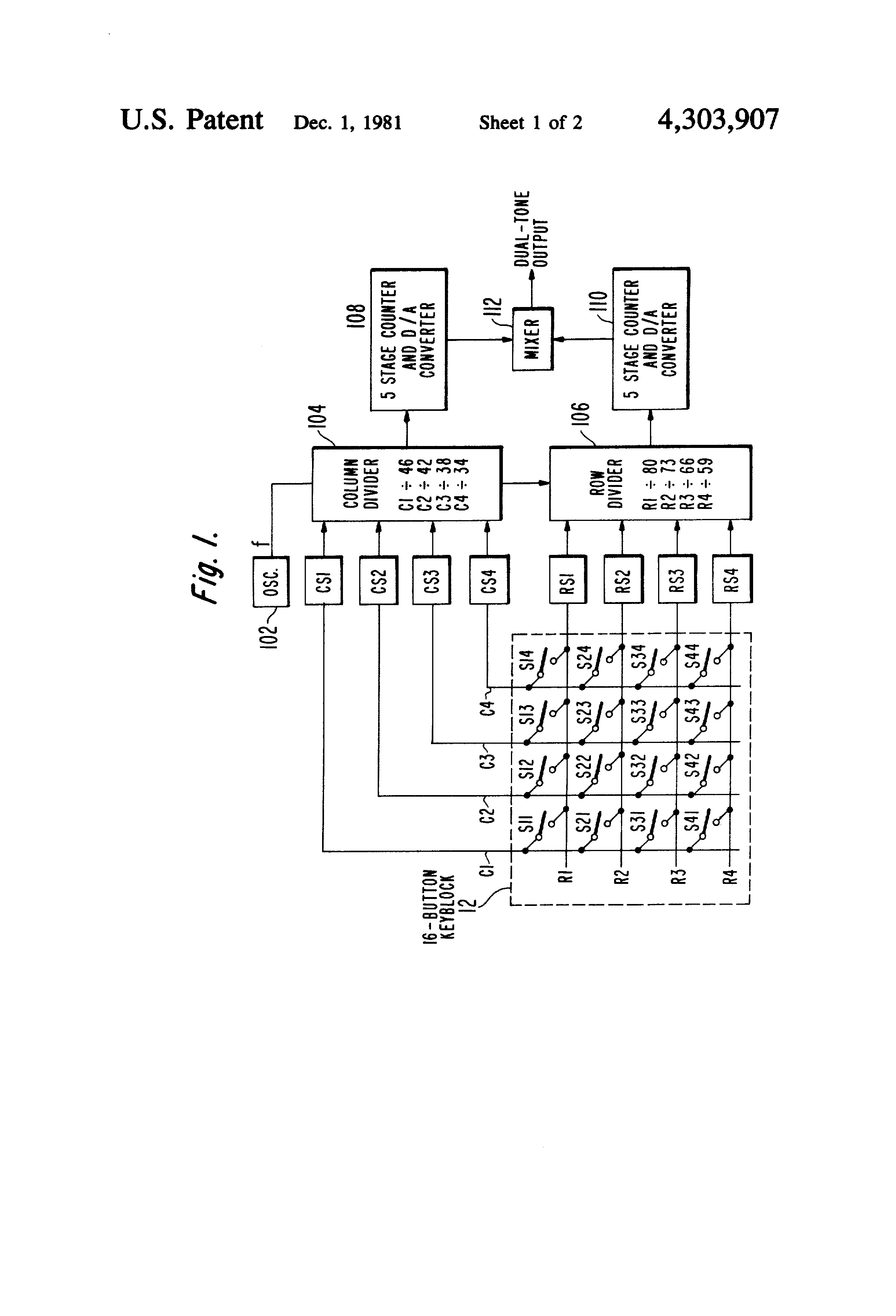 Us4303907 Low Power Switch Closure Sensing Circuit D A Converter Diagram Patent Drawing