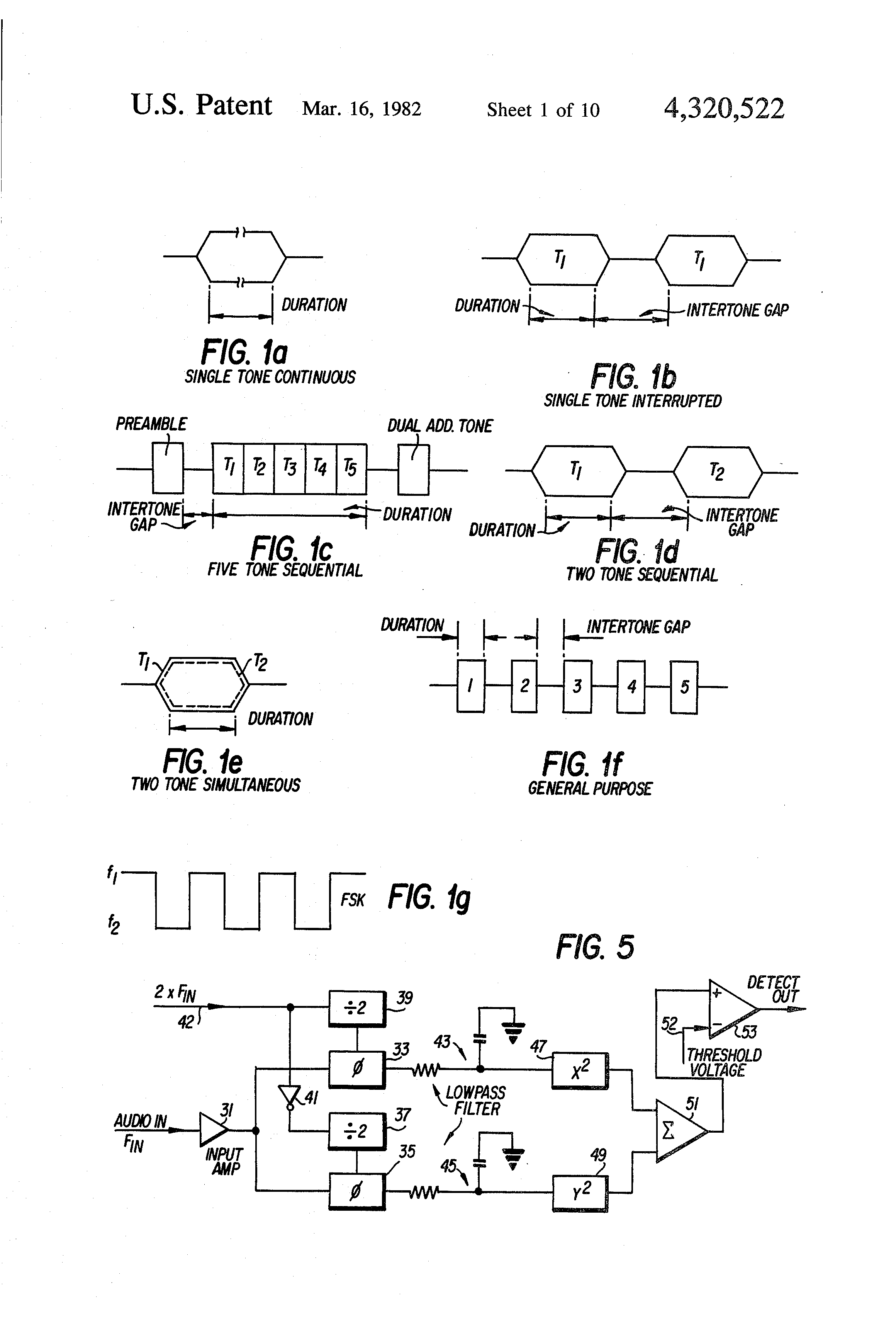 Patent Us4320522 Programmable Frequency And Signalling Format Tone Audio Signal Detector Switch Circuit Controlcircuit Drawing