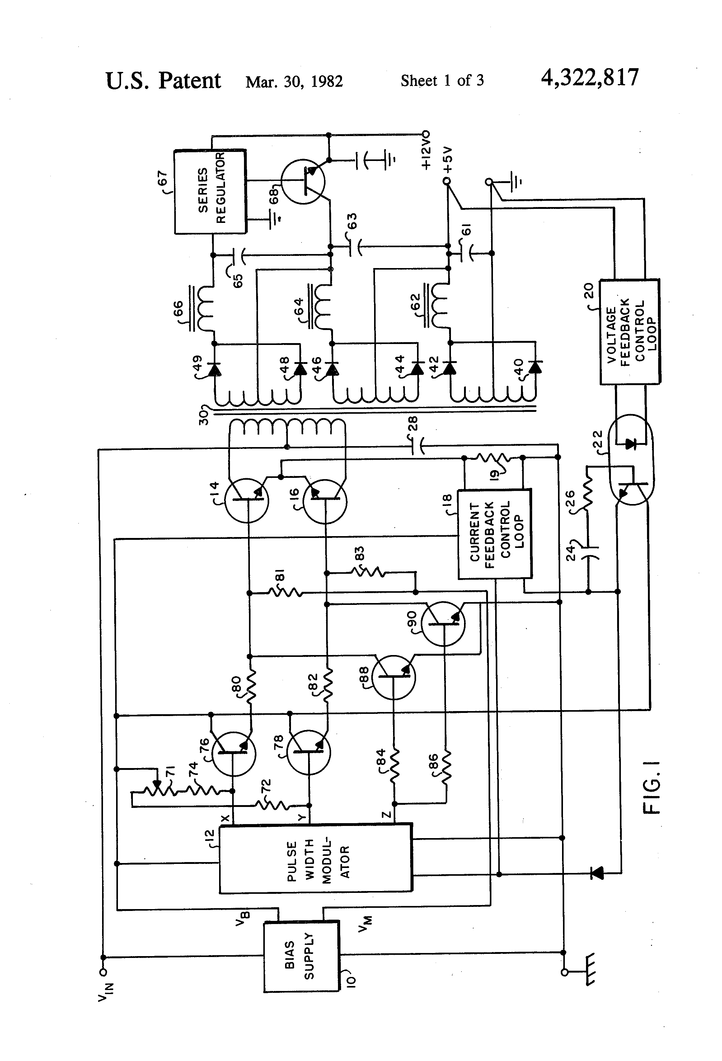 Voltage To Pulse Duration Converter Patent Us4322817 Switching Regulated Width Modulated Push Drawing