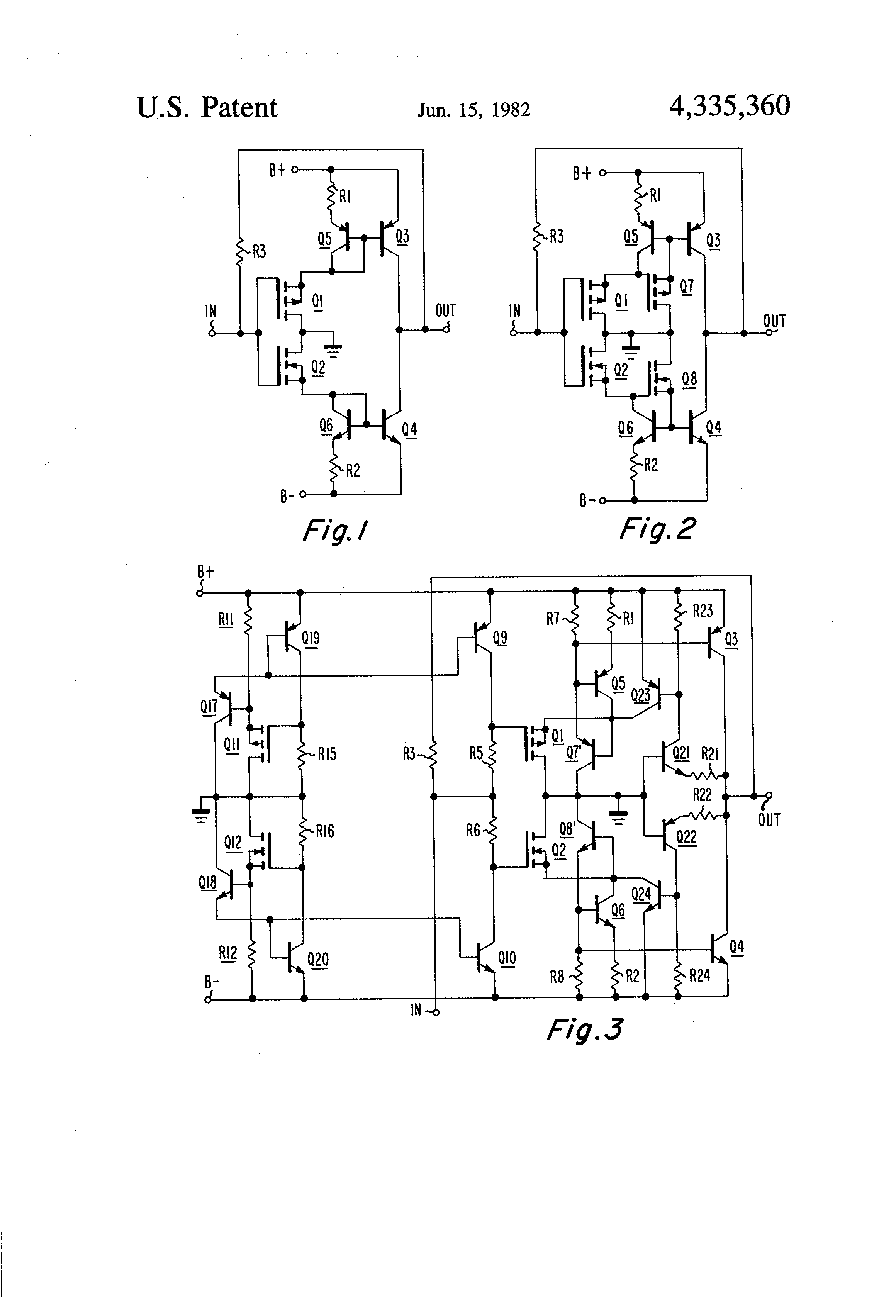 patent us4335360 - class ab push-pull amplifiers