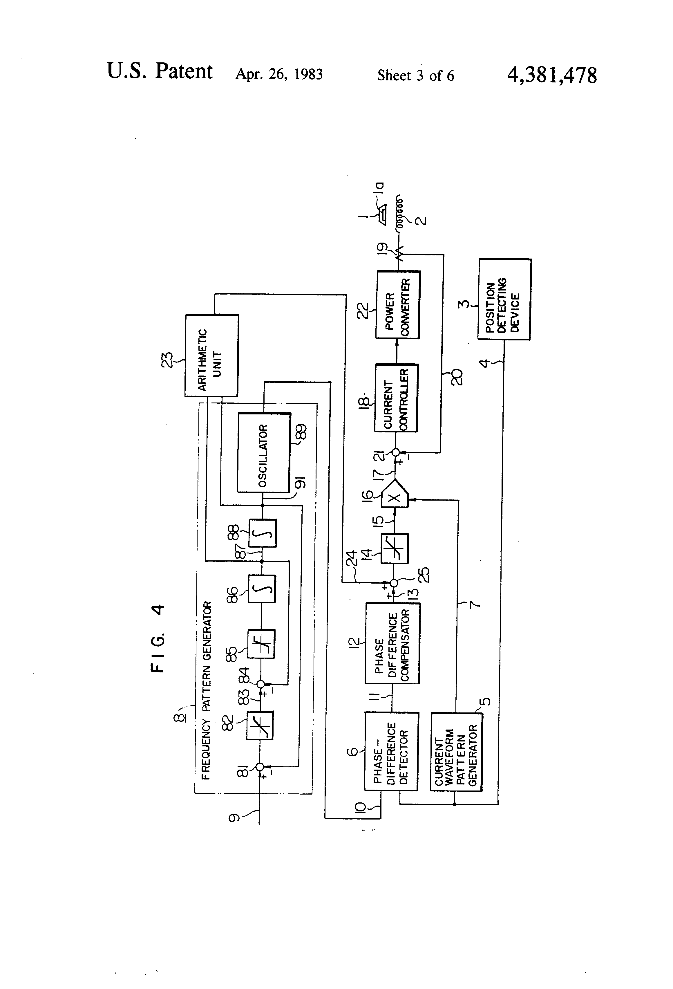 Patent Us4381478 Control System For A Linear Synchronous