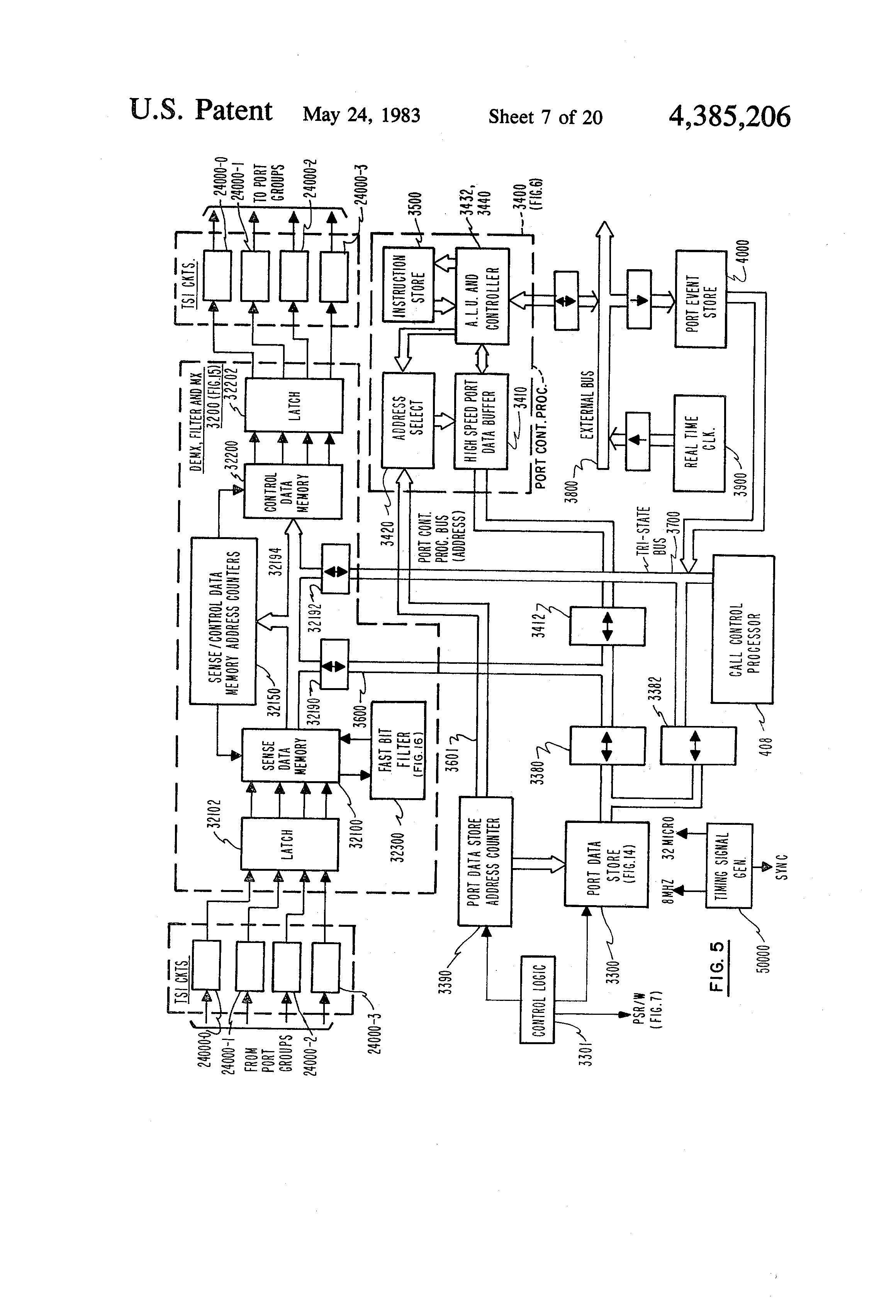 Patent Us4385206 Programmable Port Sense And Control Signal Array Connected To 1 Interrupter 3 Drawing