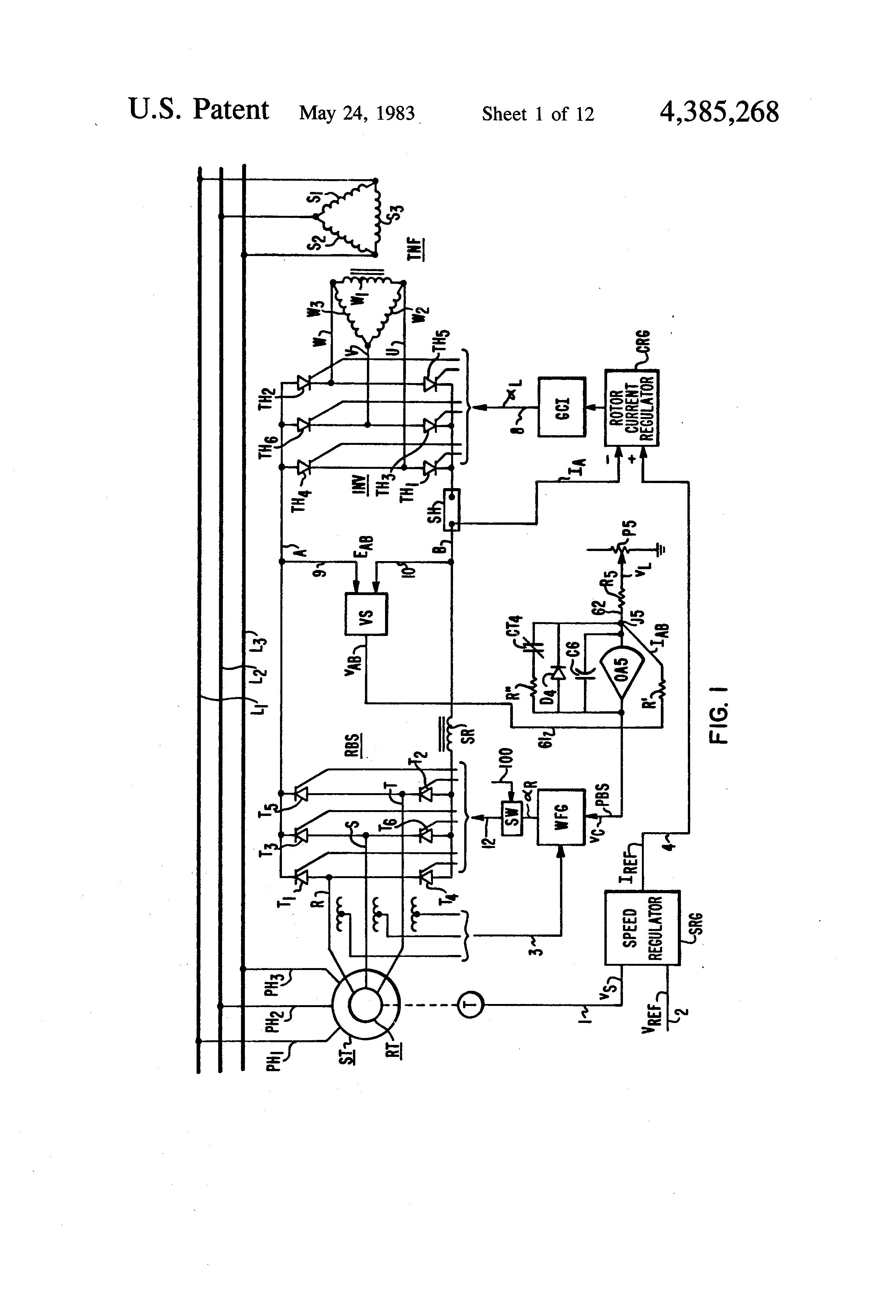Patent Us4385268 Two Quadrant Operation System For A Slip Recovery Ac Motor Speed Picture Control Of Using Scr Moreover Drawing