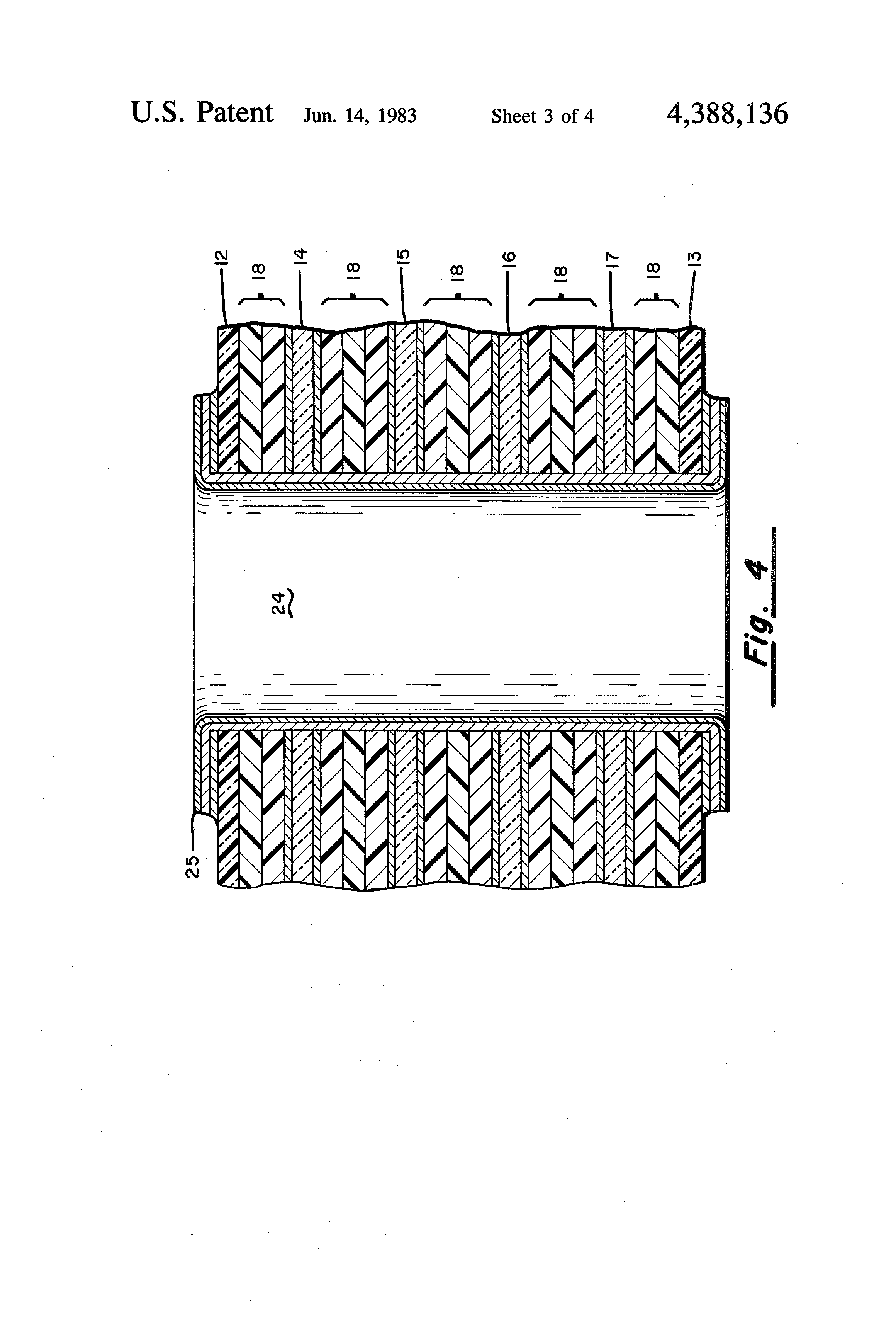 Patent Us4388136 Method Of Making A Polyimide Glass Hybrid Metal Clad Double Sided Pcb Multilayer Circuit Board Fabrication Drawing