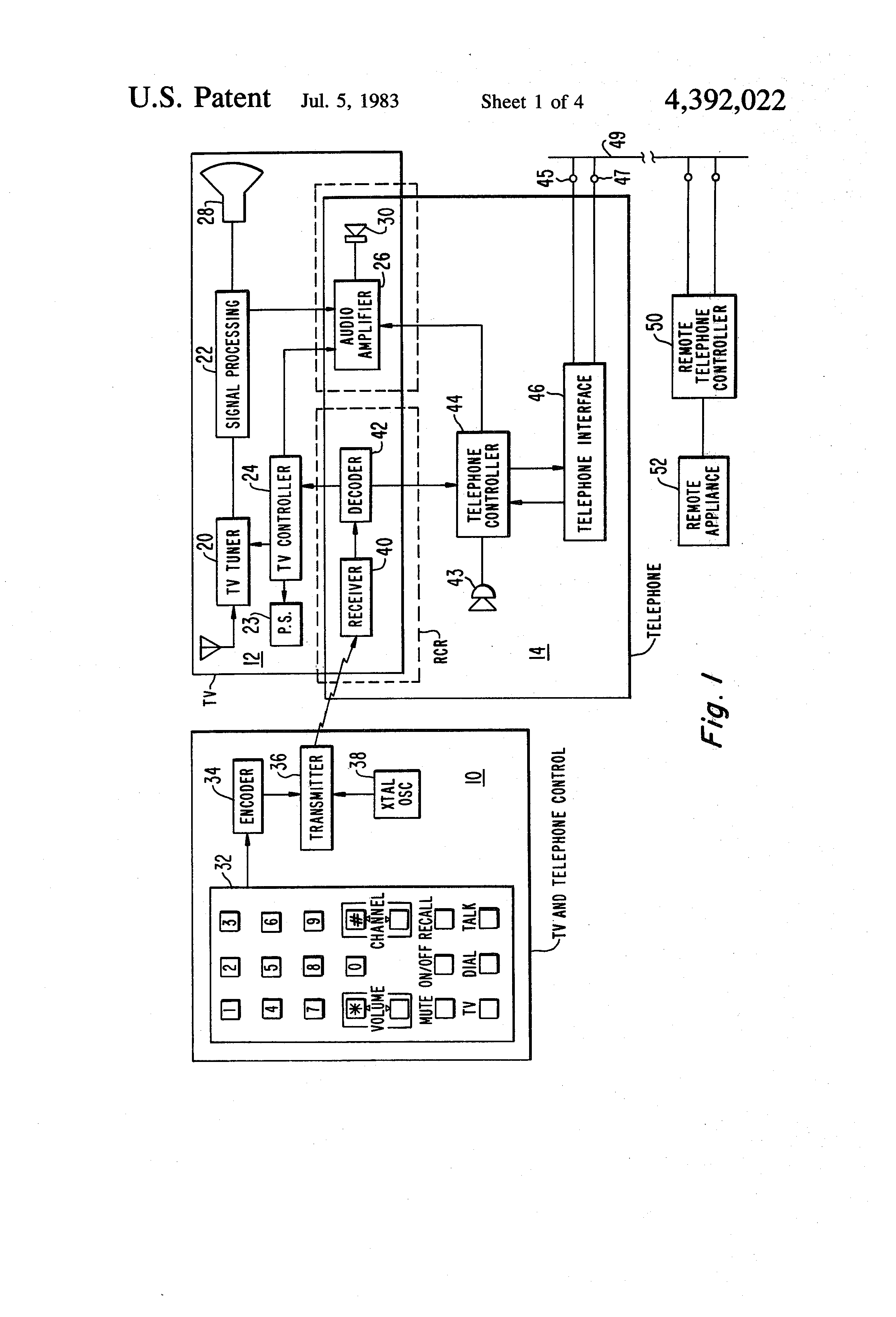 Patent Us4392022 Television Remote Control System For Selectively Rc Buffer Circuit Design In Switching Power Supply Appliance Ic Drawing