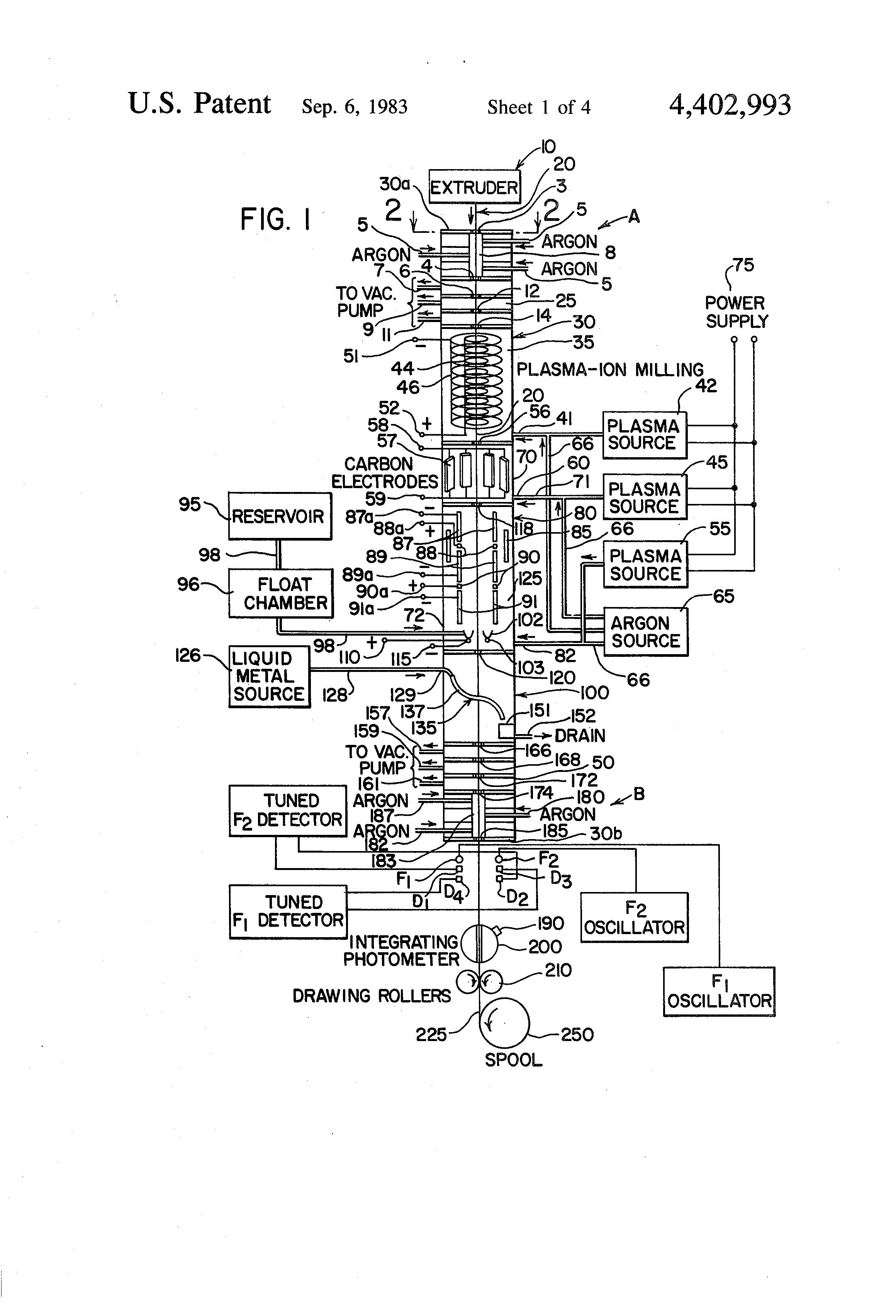 Patent Us4402993 Process For Coating Optical Fibers Google Patents Schematic Diagram Of Fiber Drawing