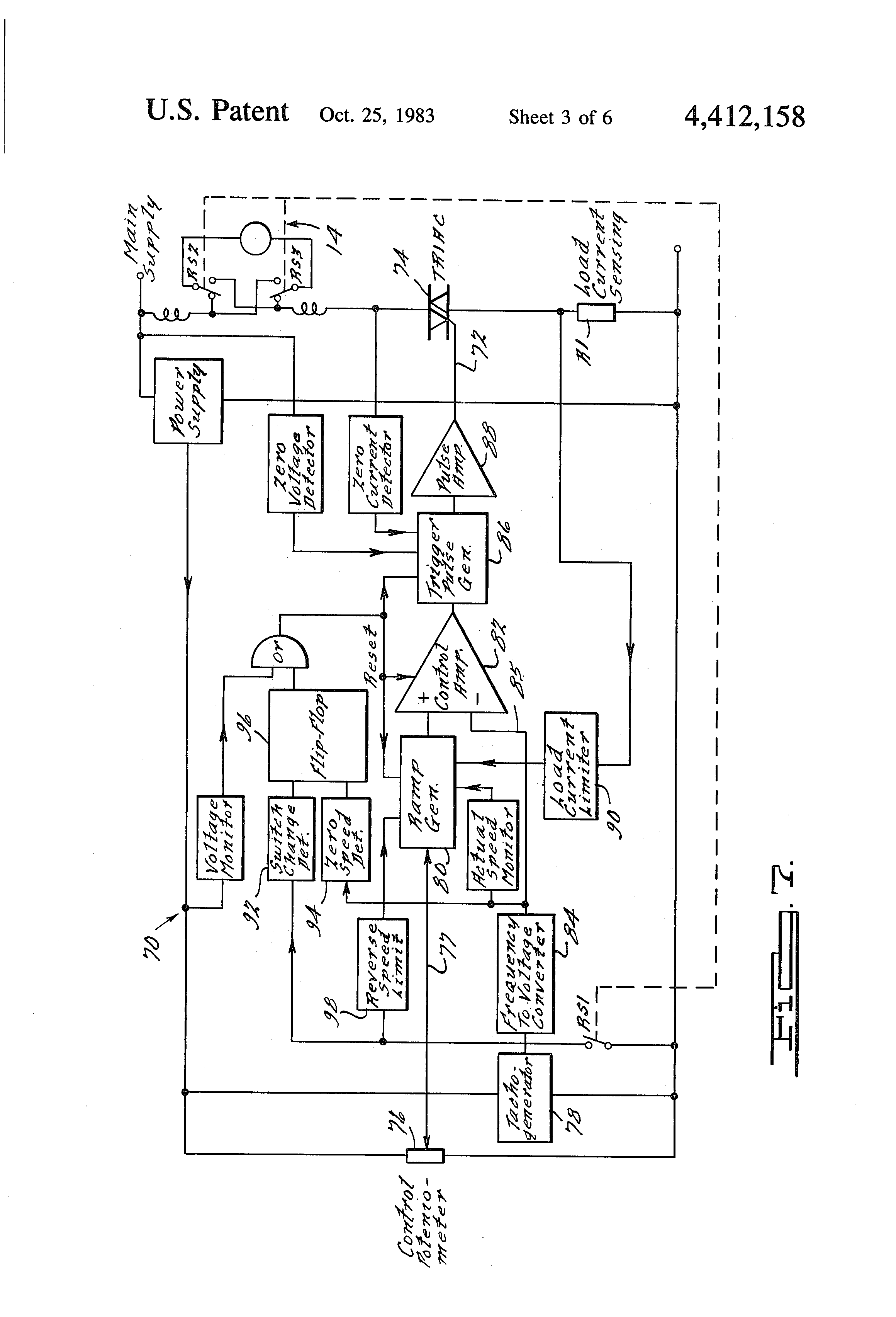 patent us4412158 speed control circuit for an electric power patent drawing