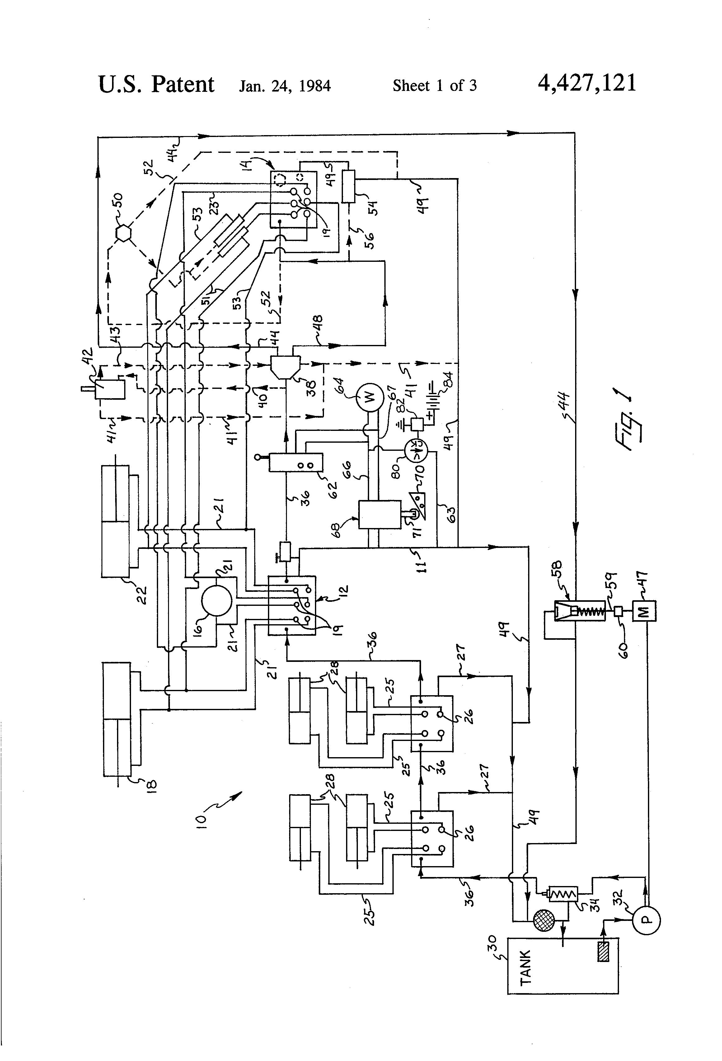 patent us4427121 - hydraulic valve control for aerial book ... wiring diagram hi ranger bucket aquastat wiring diagram hi lo