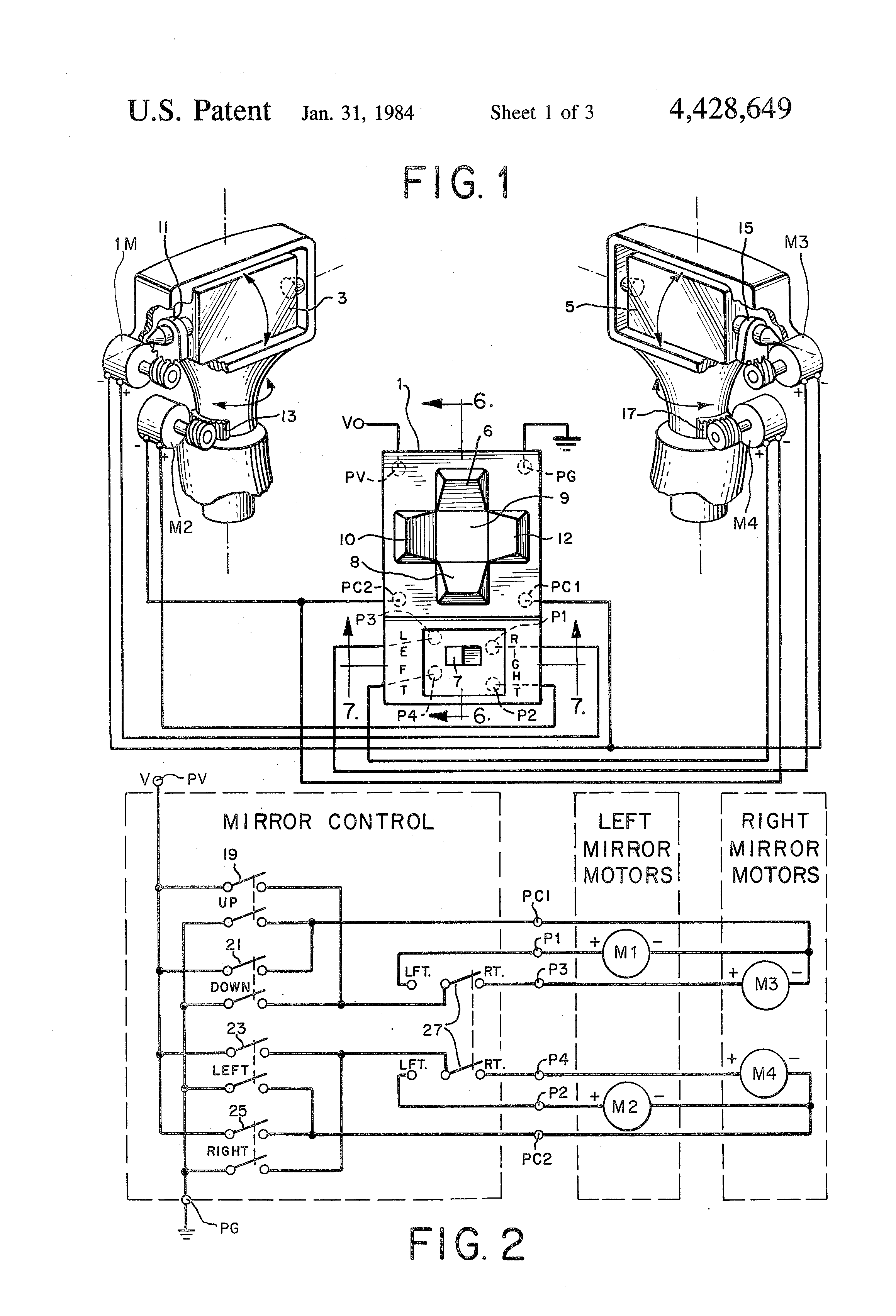 patent us4428649 - power mirror control switch