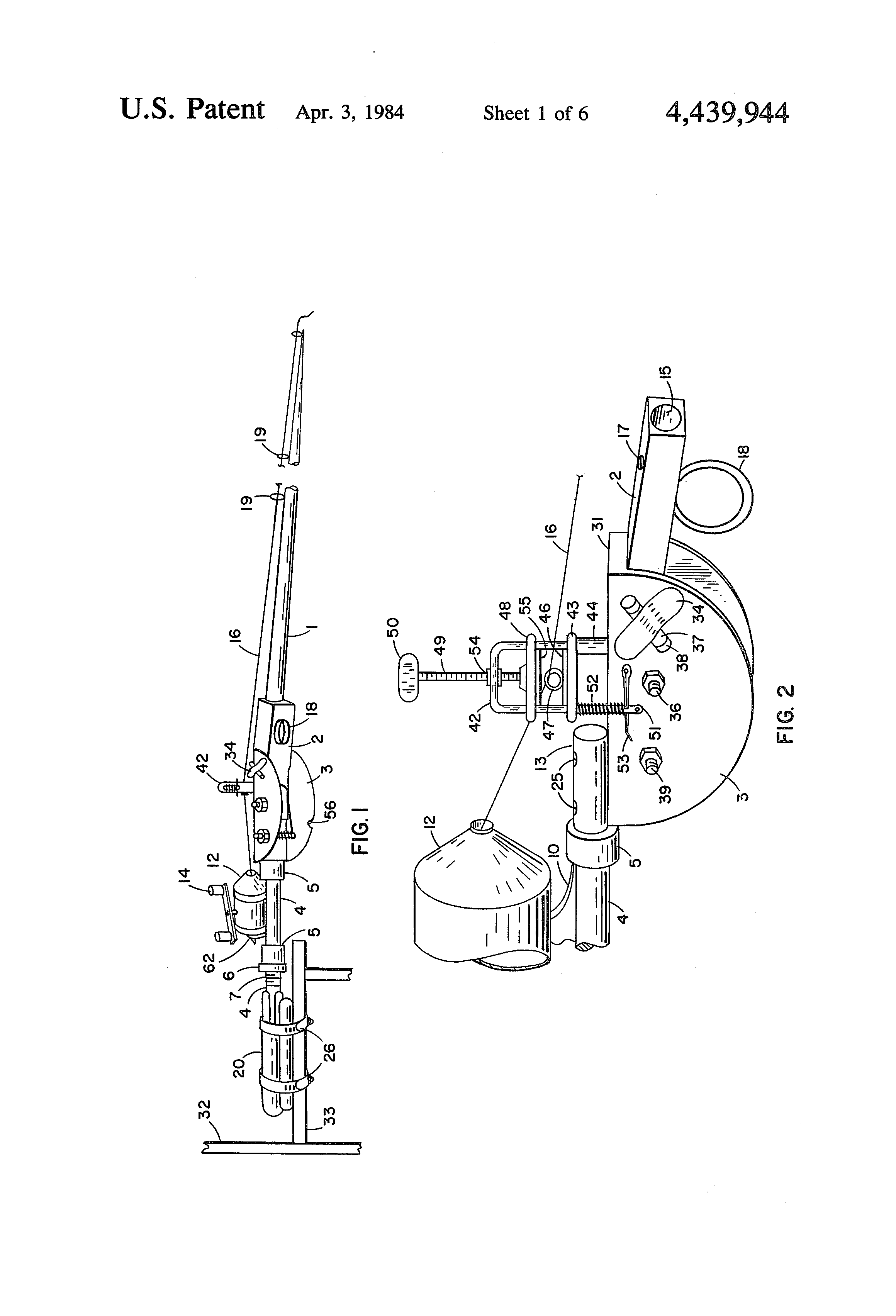 Patent Us4439944 Fishing Rod Casting Device For A Disabled