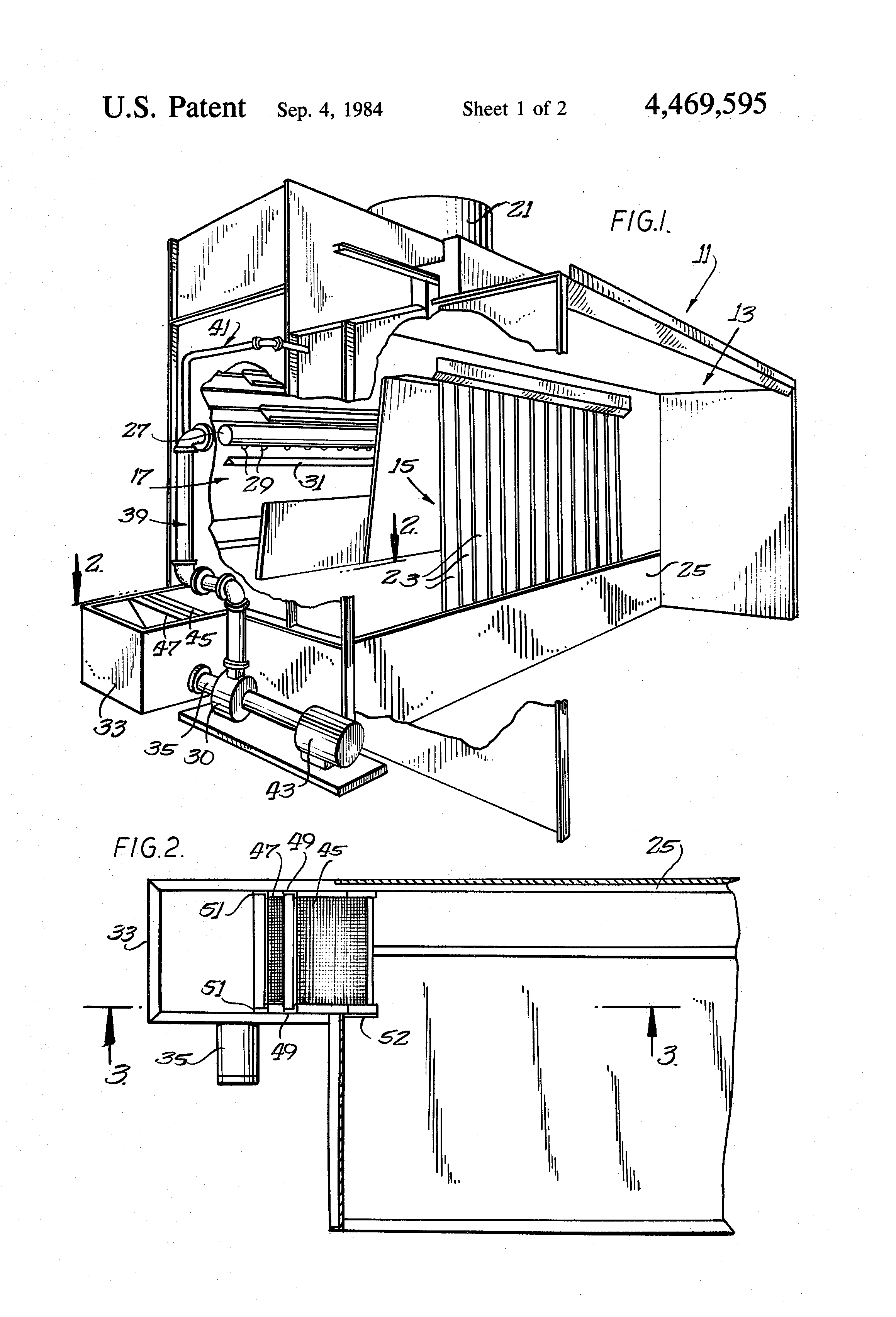 patent us4469595 - filter assembly for a spray booth