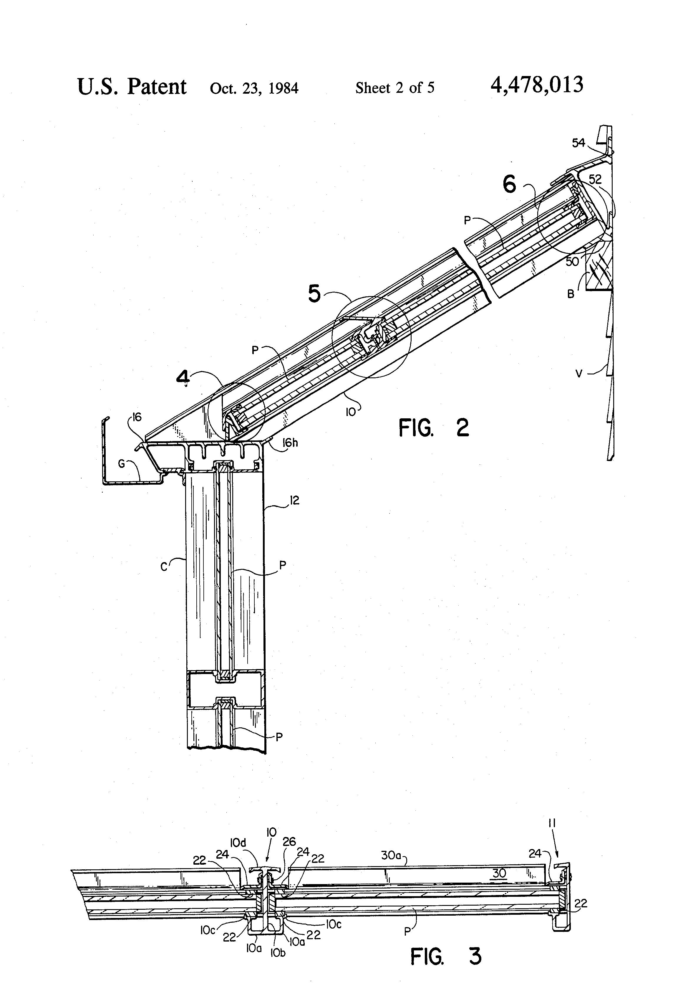 Patent Us4478013 Sloped Glazing Structure Google Patents