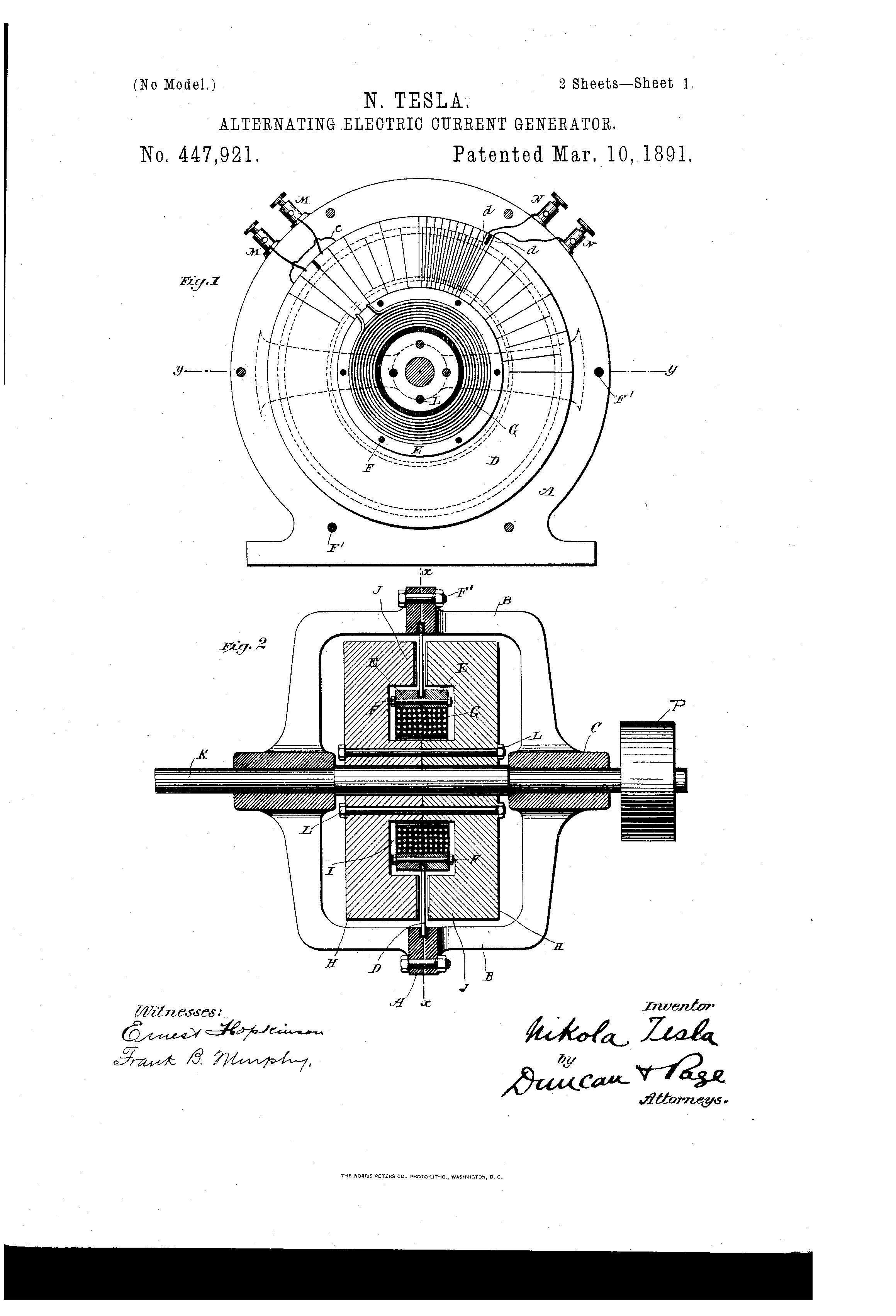 nikola tesla alternating current. patent drawing nikola tesla alternating current