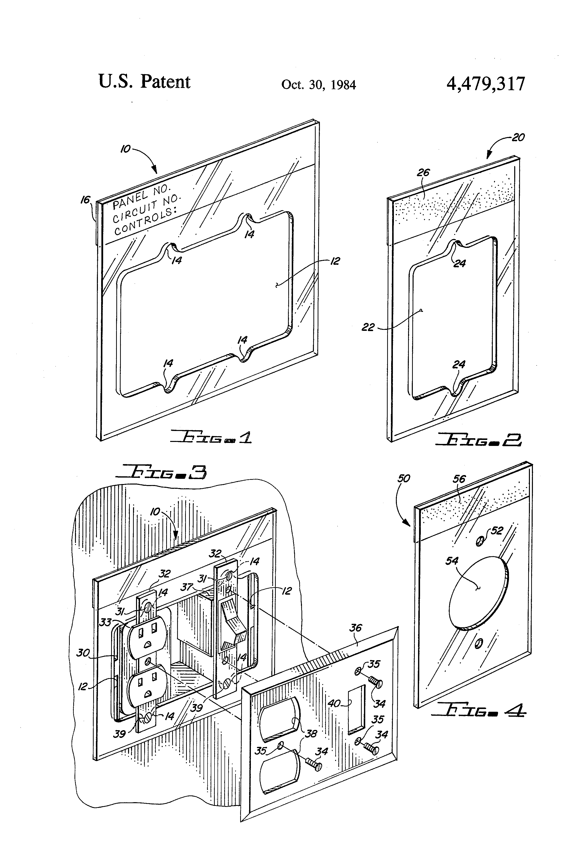 Patent Us4479317 Electrical Circuit Marking Identification Plate Breaker Labels Drawing