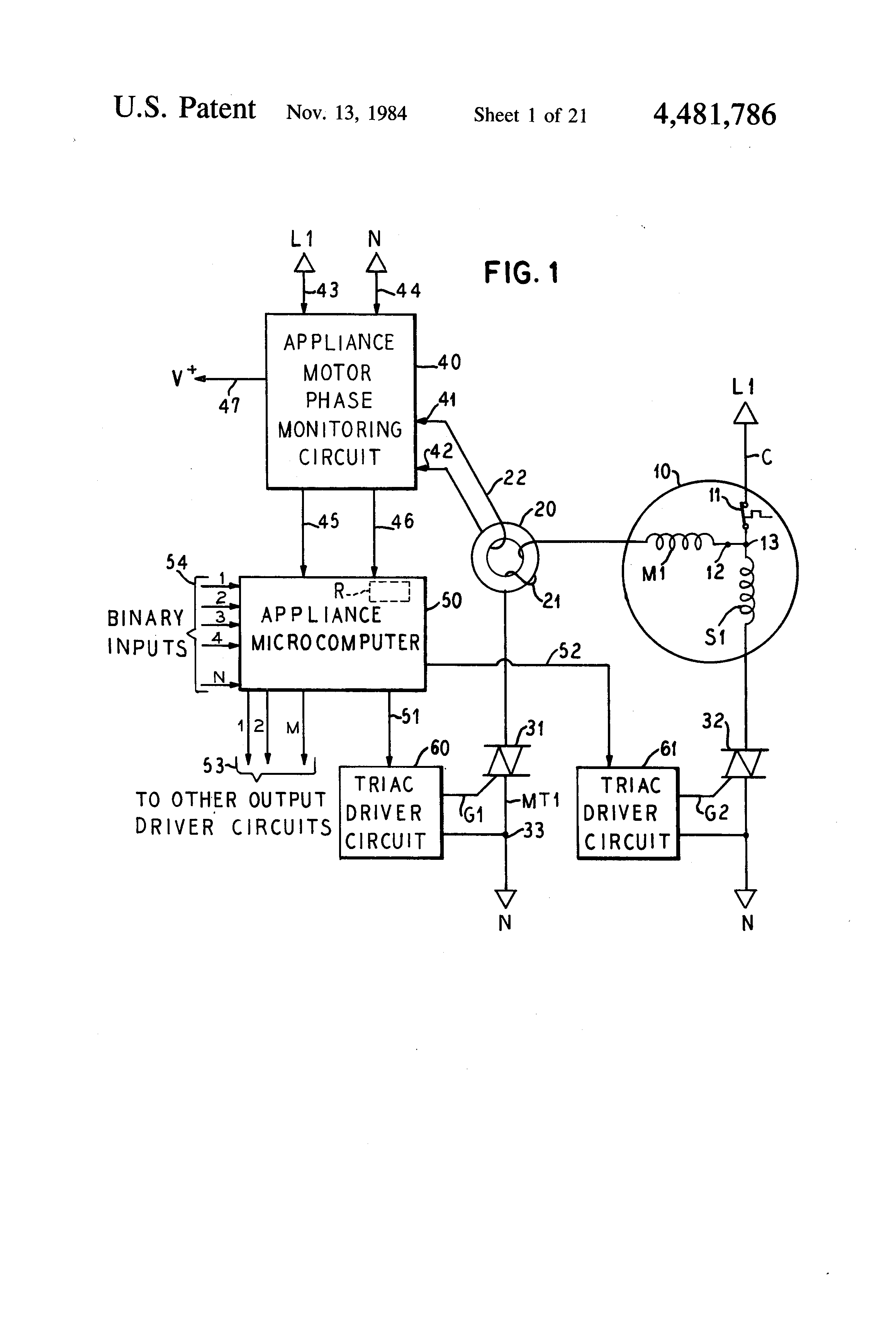Us4481786 Electronic Control For A Domestic Circuit Of Lm339 Motorcontrol Controlcircuit Diagram Patent Drawing