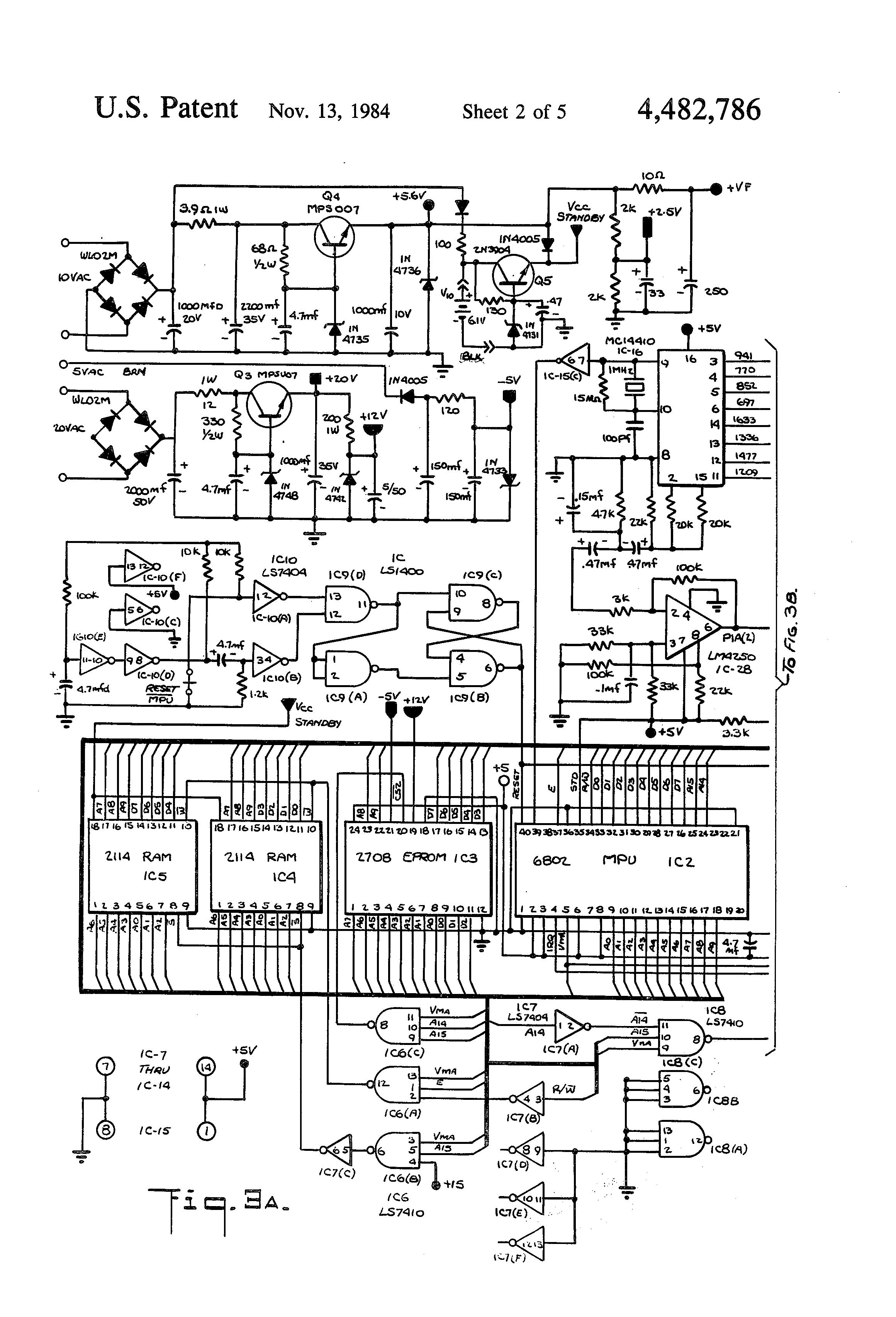 Patente Us4482786 Memory Dialer System For Use With Plural This Is A Diagram Of Basic 6v Converted To 12v Using Zenor Patent Drawing